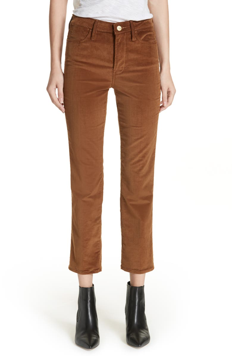 Le High Ankle Straight Corduroy Pants,                         Main,                         color, WARM TAN