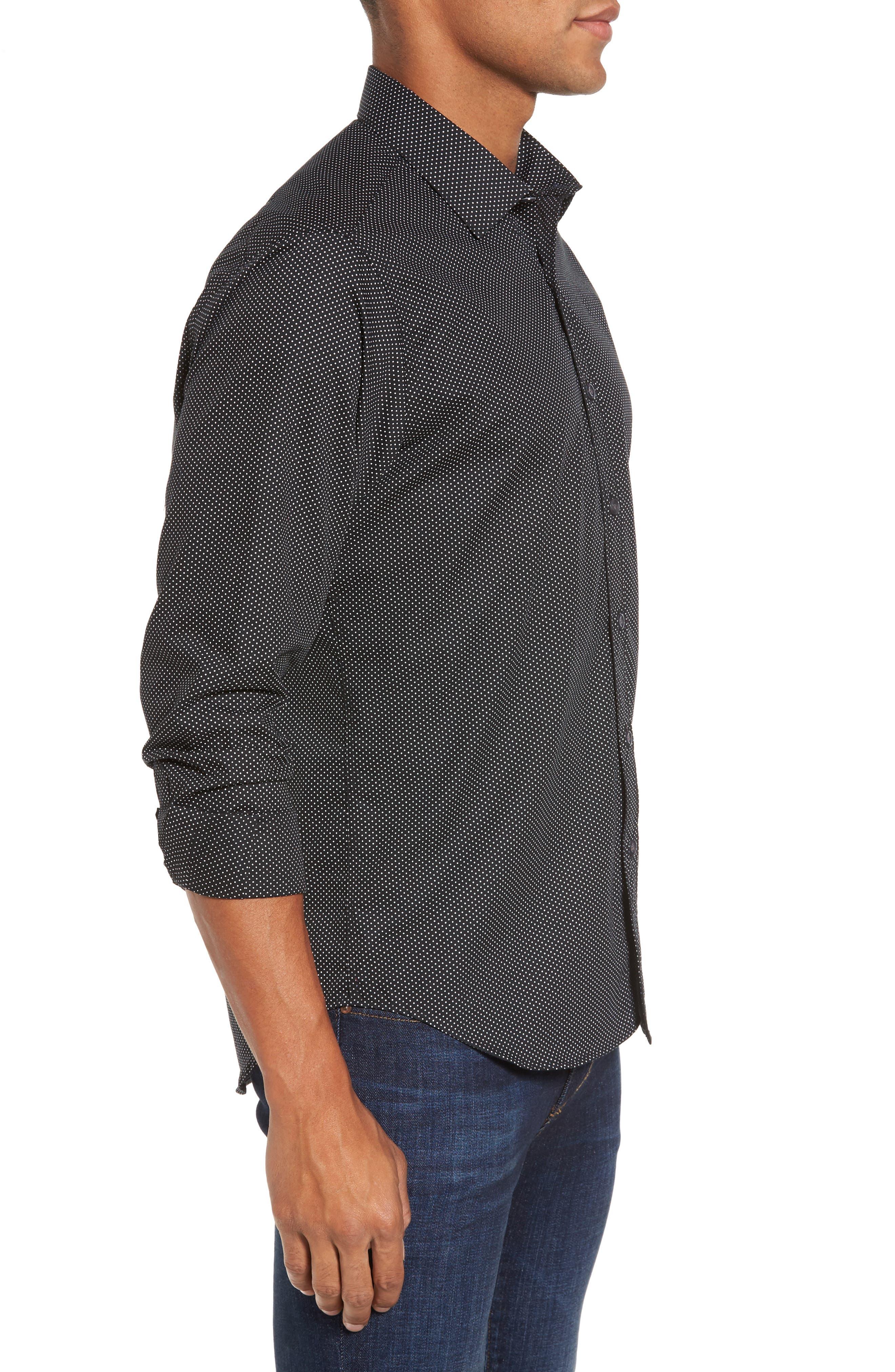 Slim Fit Print Sport Shirt,                             Alternate thumbnail 3, color,                             001