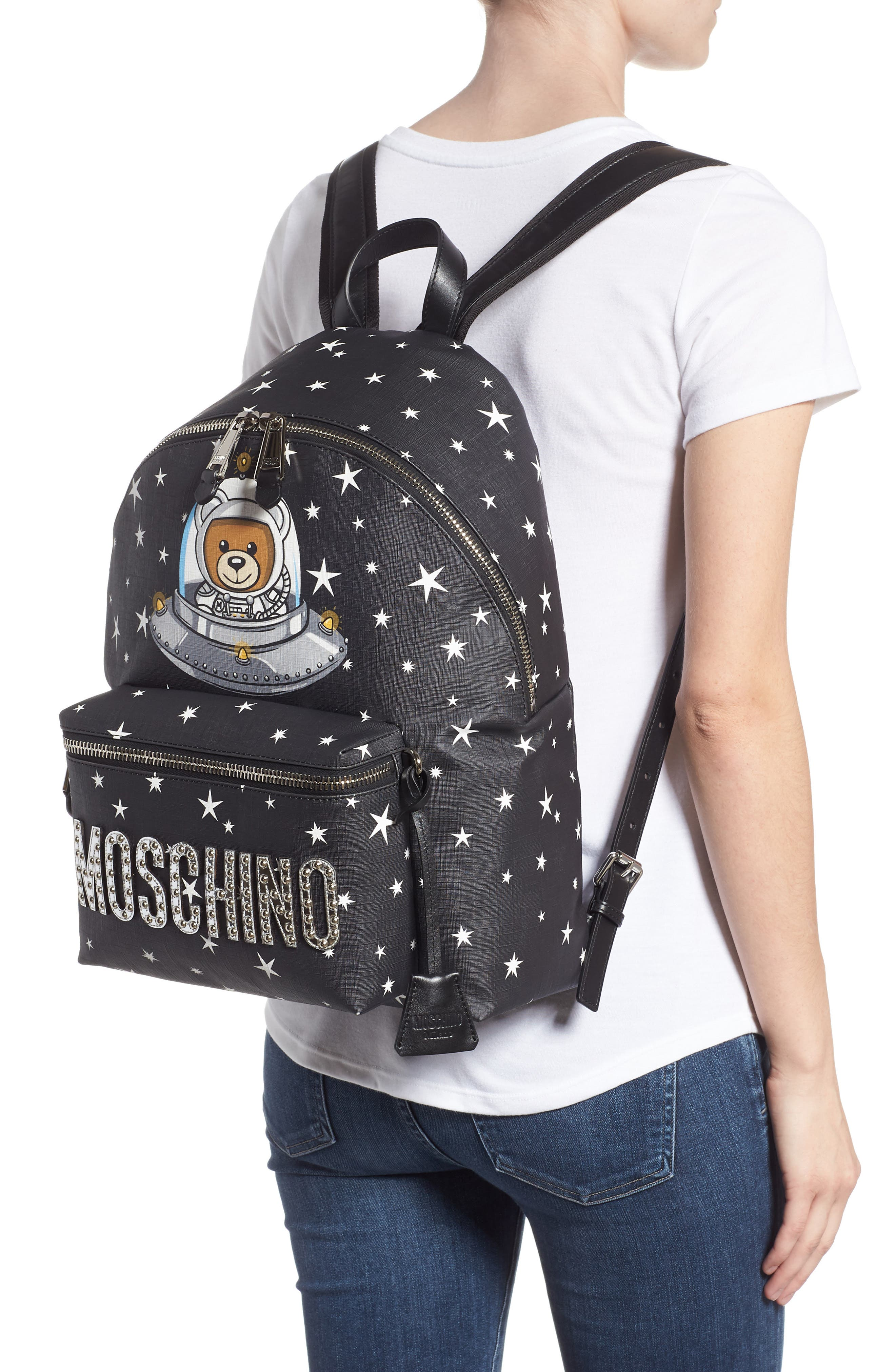 UFO Teddy Bear Faux Leather Backpack,                             Alternate thumbnail 2, color,                             001
