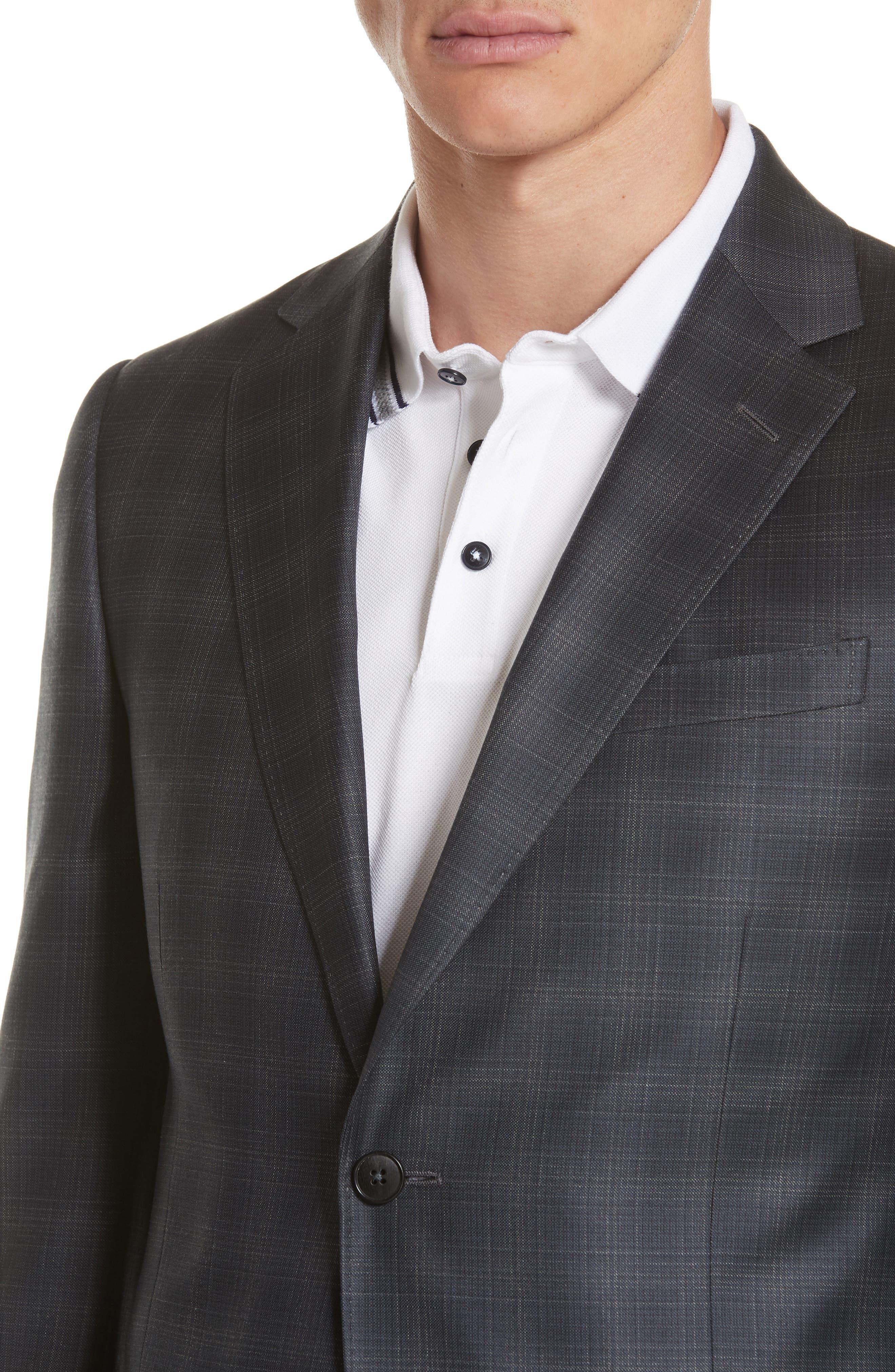 Trim Fit Plaid Wool Sport Coat,                             Alternate thumbnail 4, color,