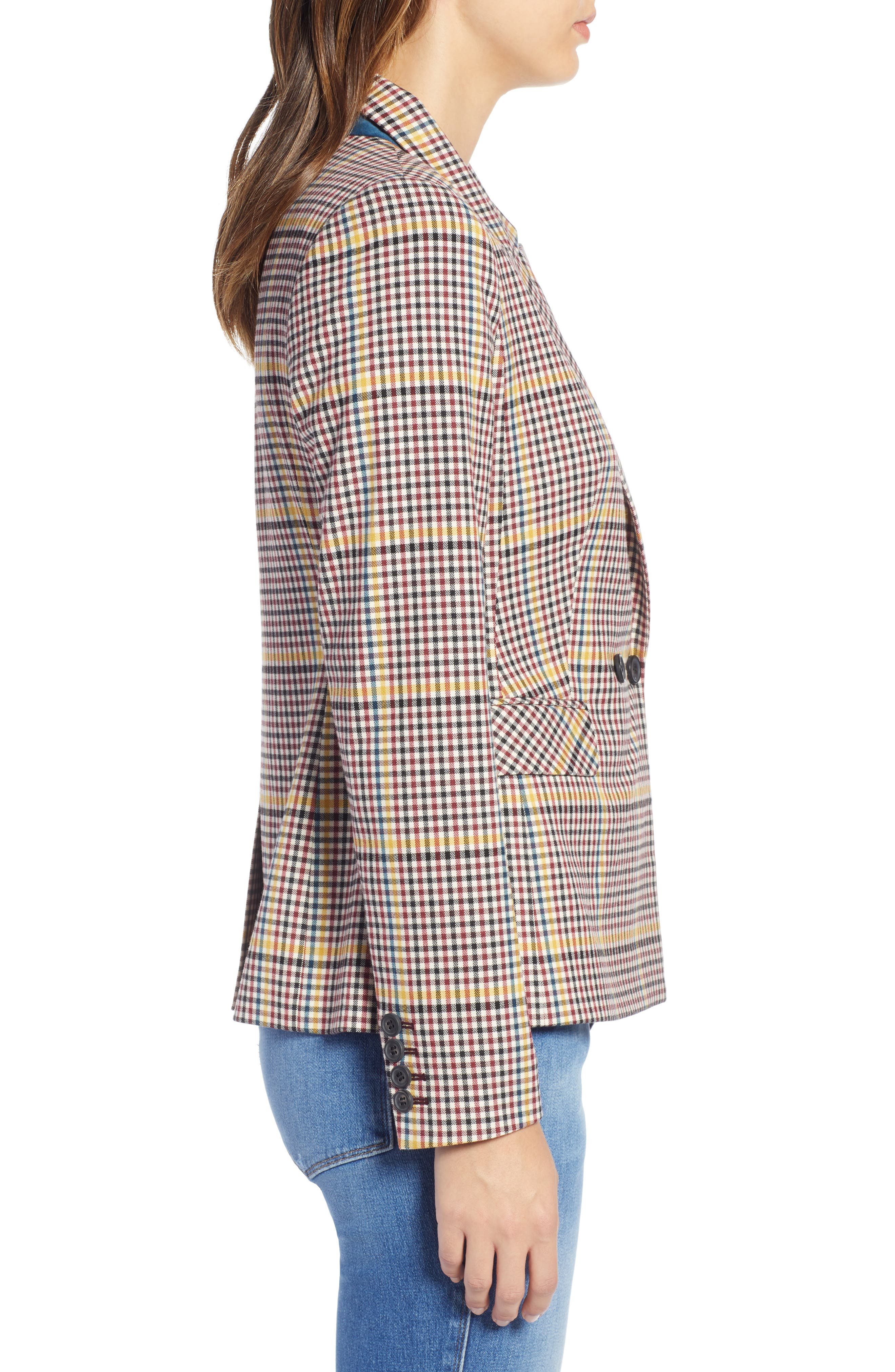 Double Breasted Plaid Blazer,                             Alternate thumbnail 3, color,                             RED R- BEIGE PLAID