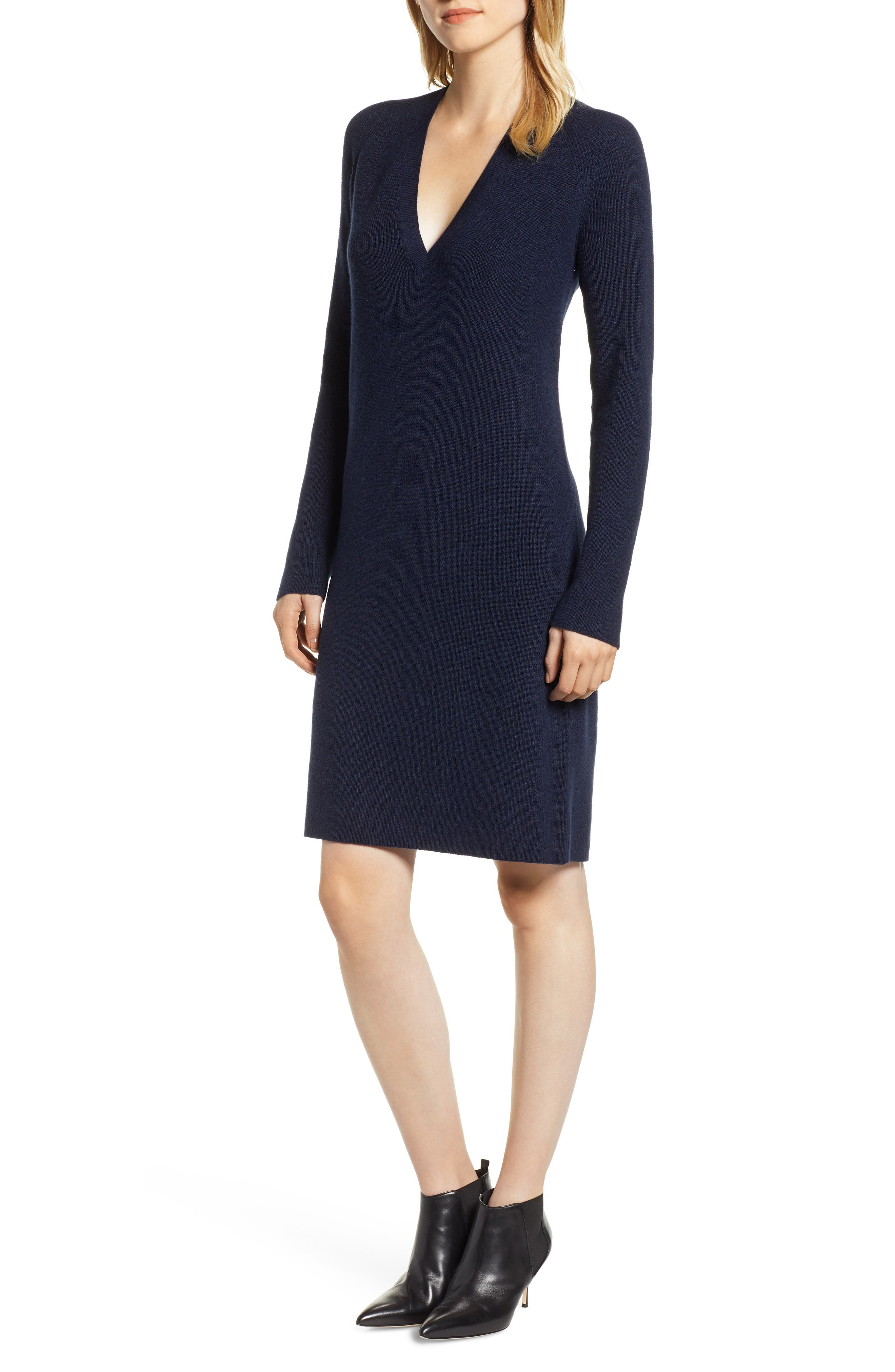 Halogen V-Neck Sweater Dress, Blue