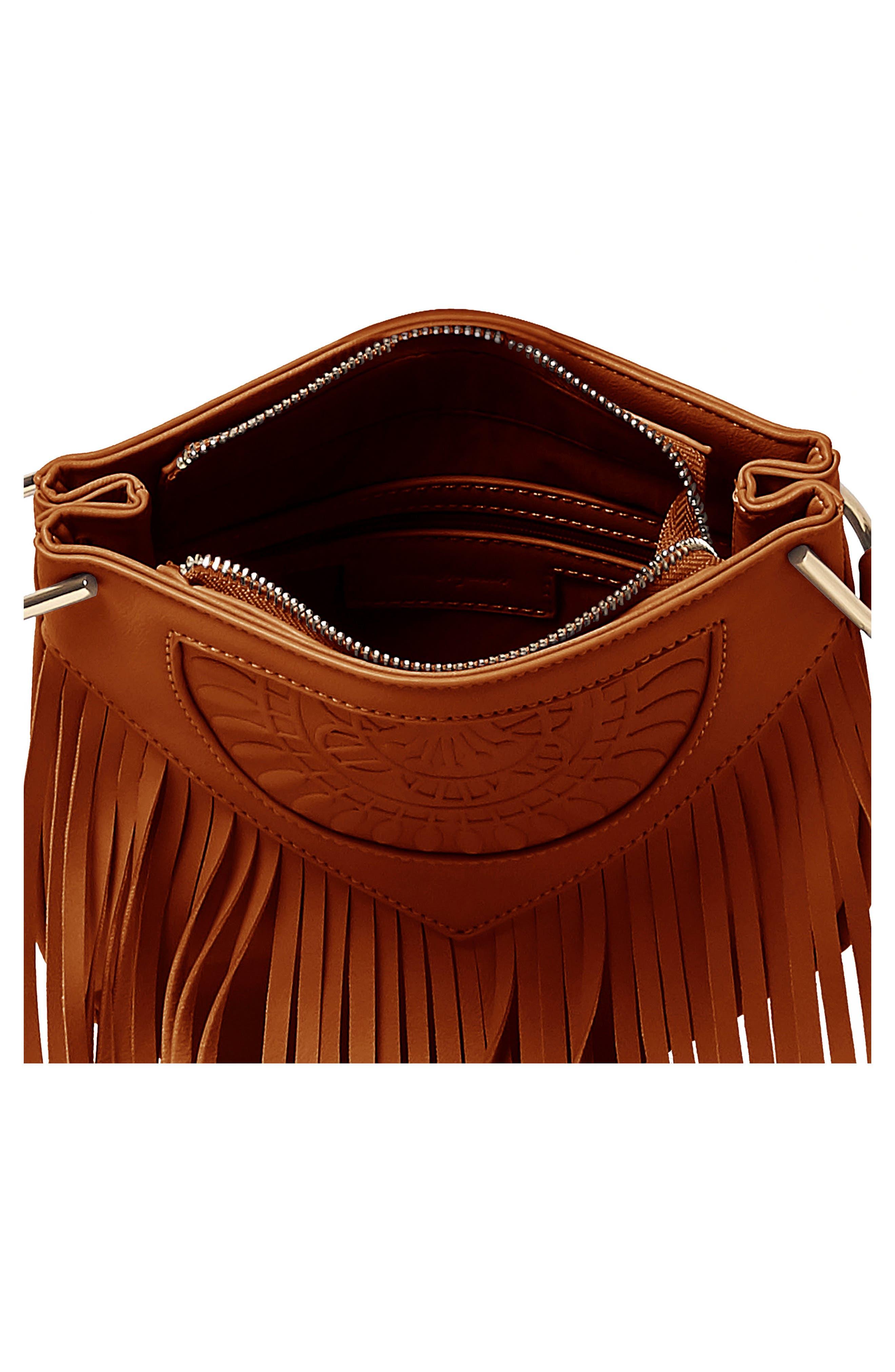 Rose Queen Vegan Leather Crossbody Bag,                             Alternate thumbnail 3, color,                             TAN