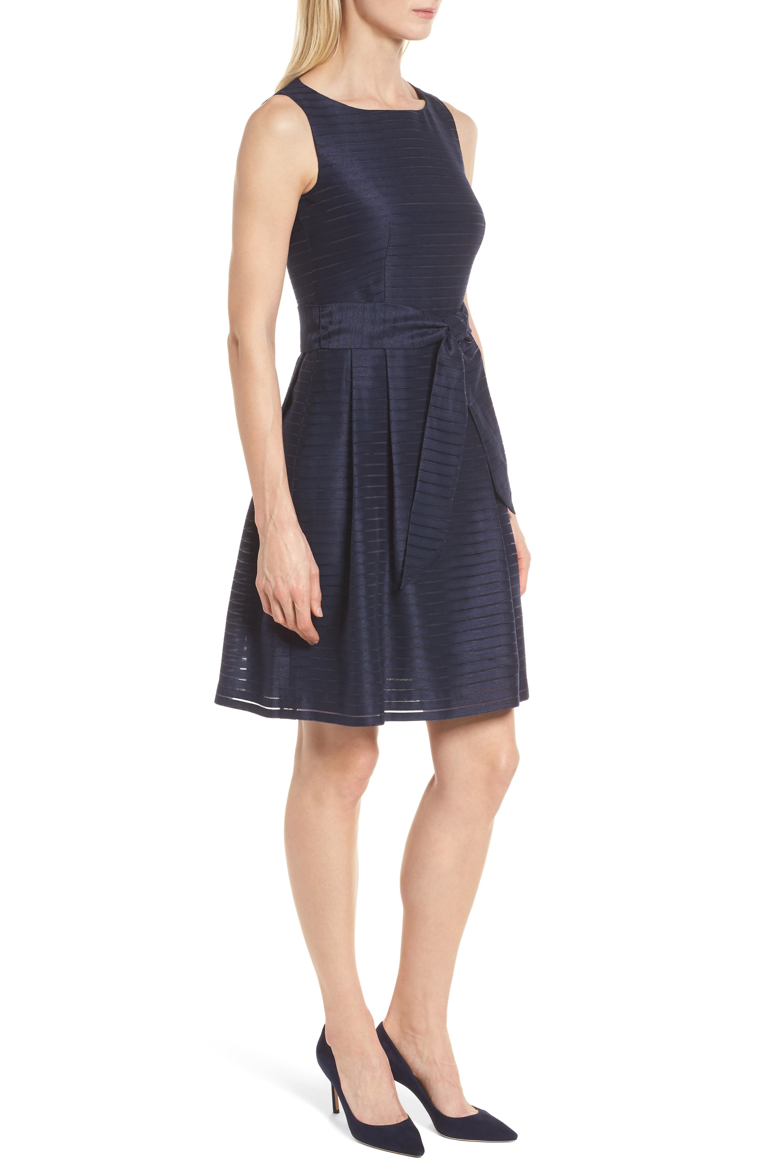Shadow Stripe Fit & Flare Dress,                             Alternate thumbnail 3, color,                             410