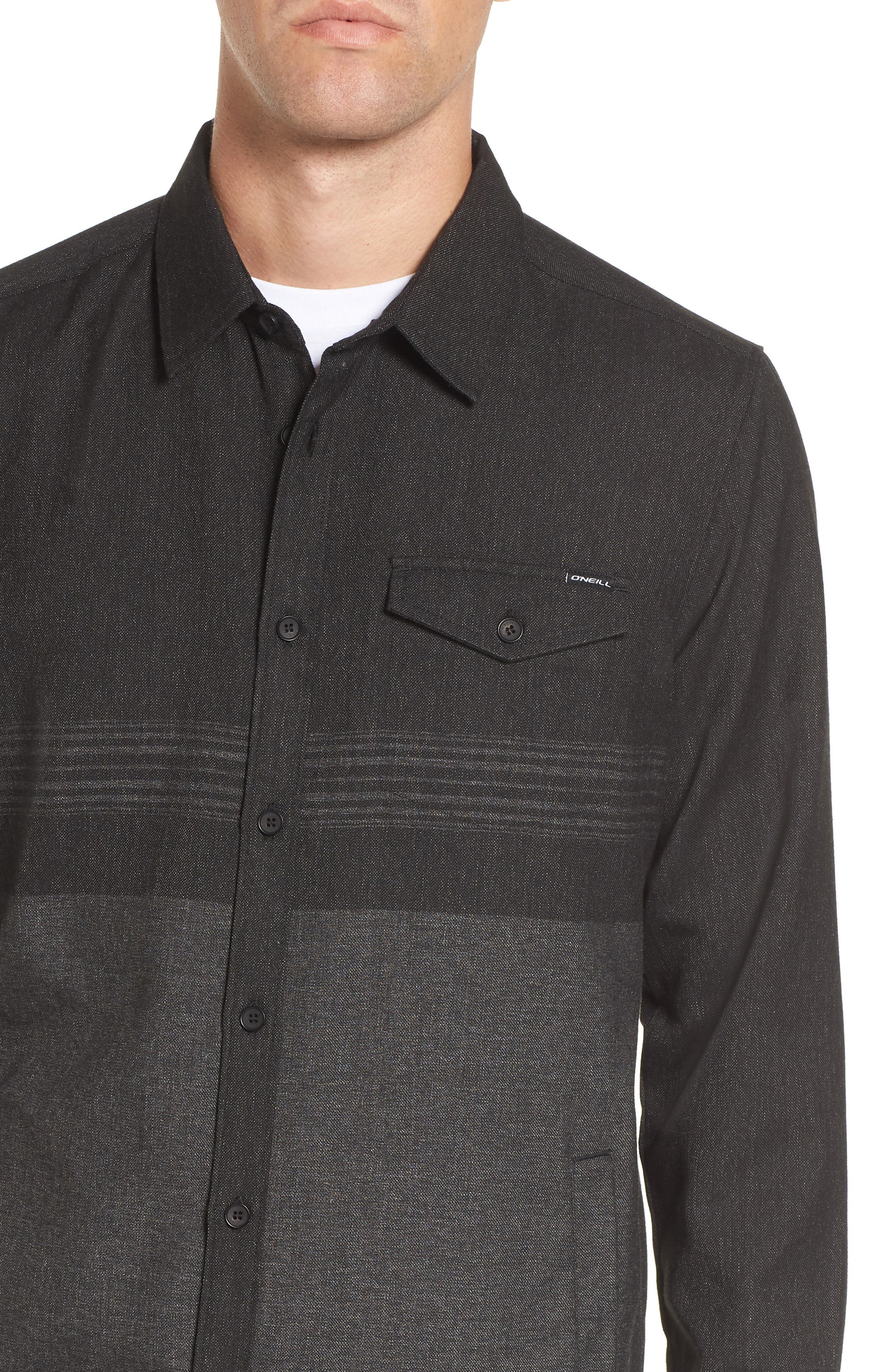 Jacinto Hooded Flannel Shirt,                             Alternate thumbnail 4, color,                             001