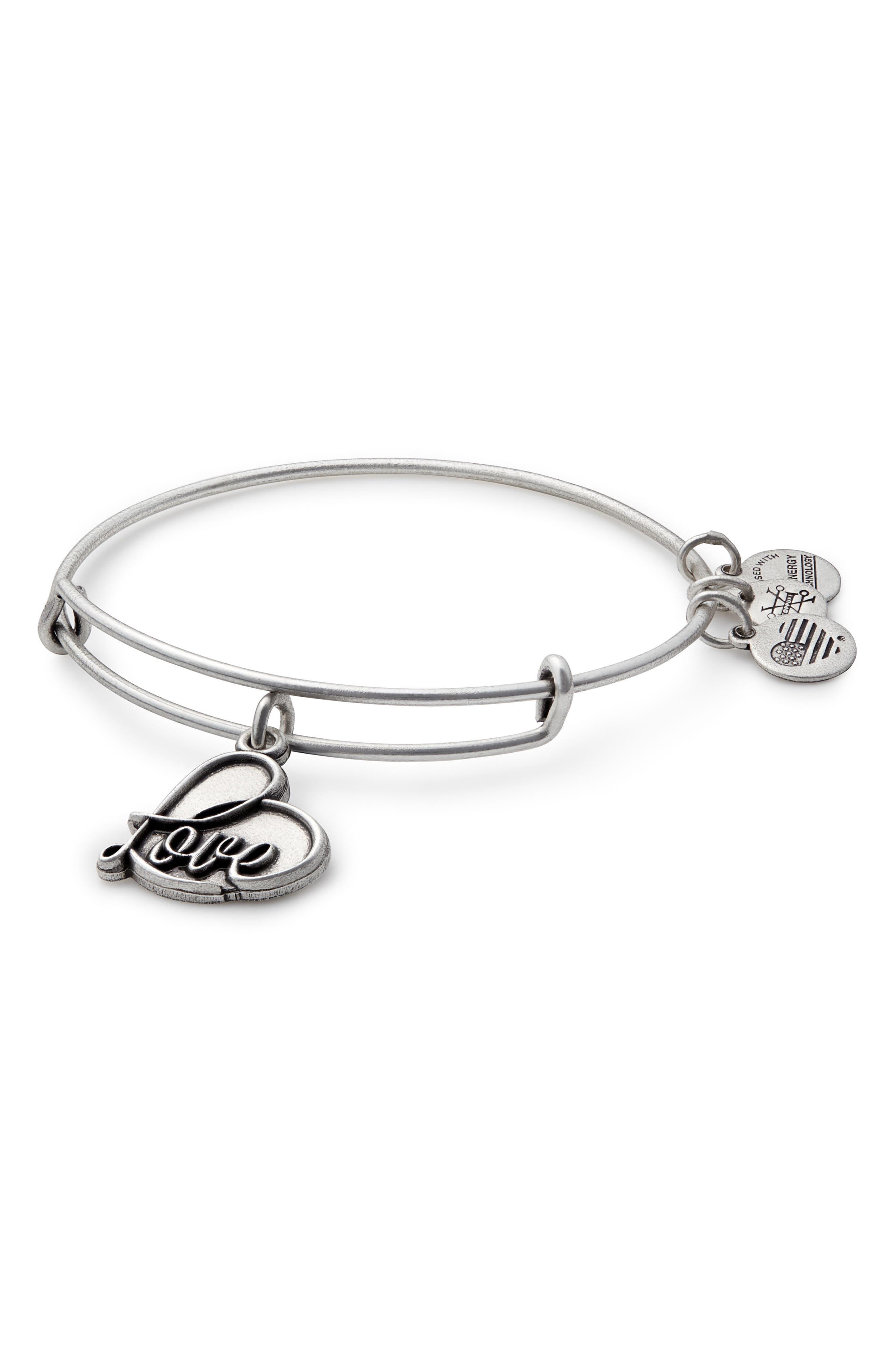 Love Expandable Charm Bracelet,                         Main,                         color, SILVER