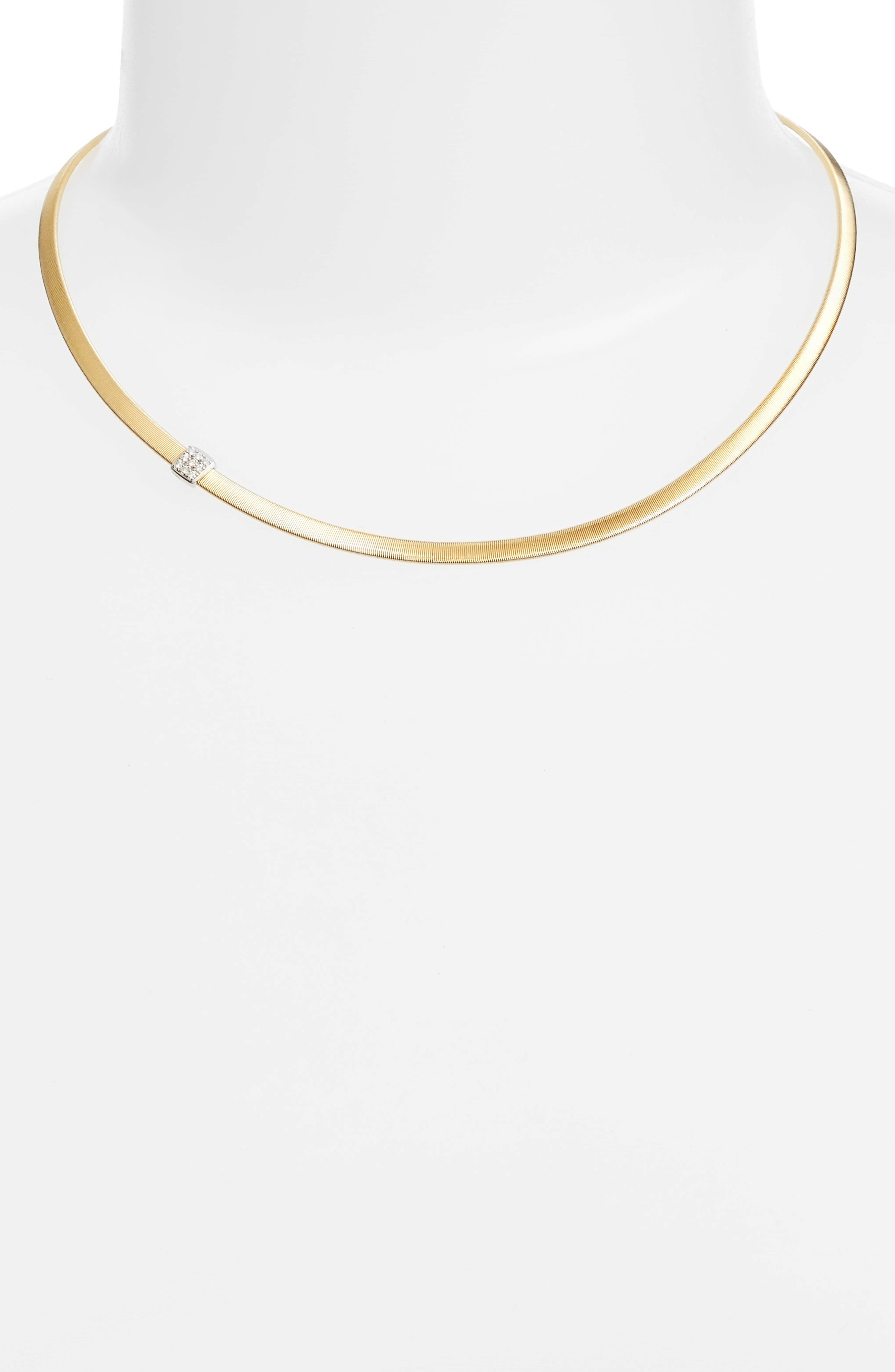 Masai Diamond Collar Necklace,                             Alternate thumbnail 2, color,                             YELLOW GOLD