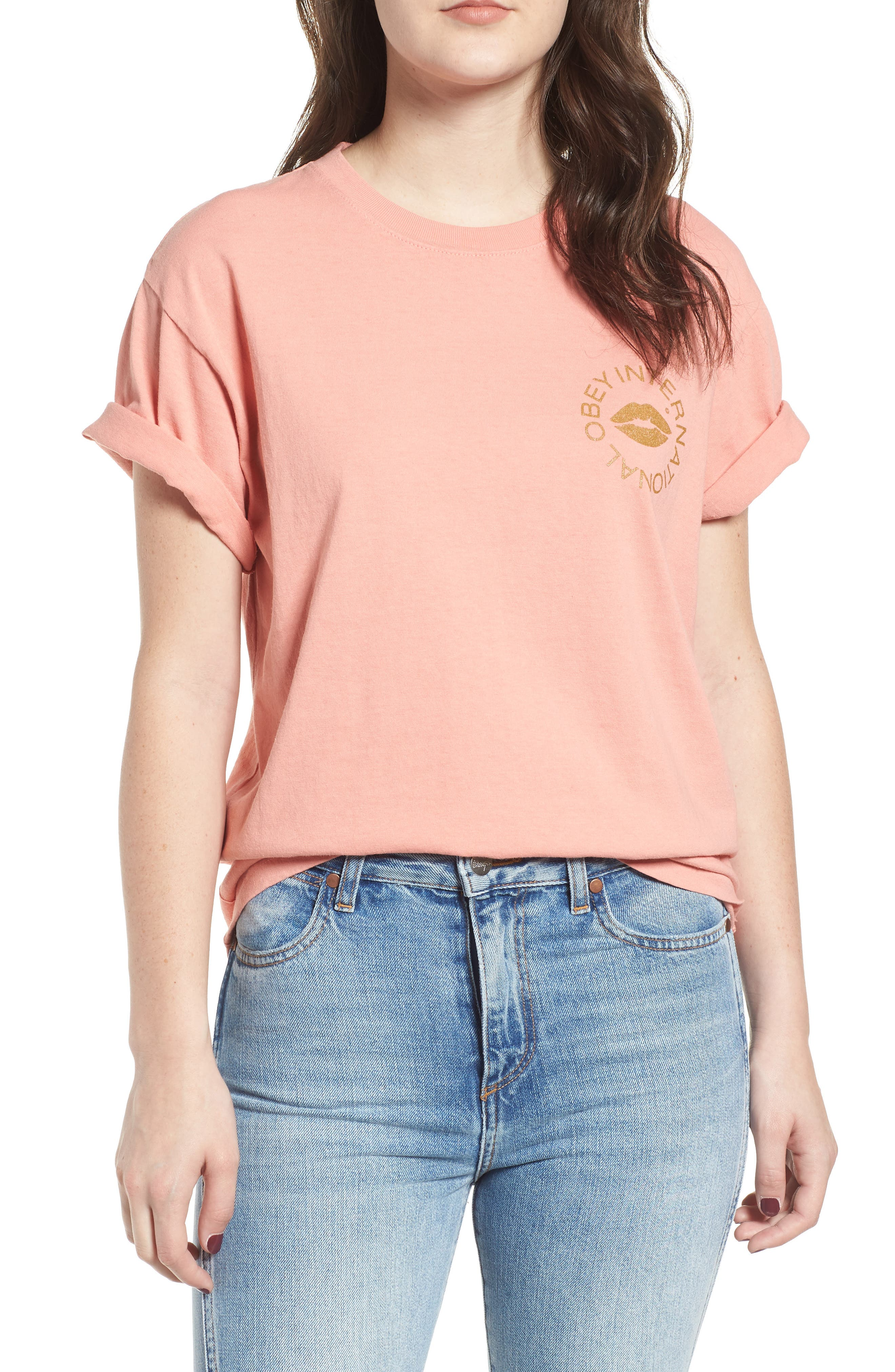 OBEY Kiss of Obey Boxy Tee, Main, color, 950