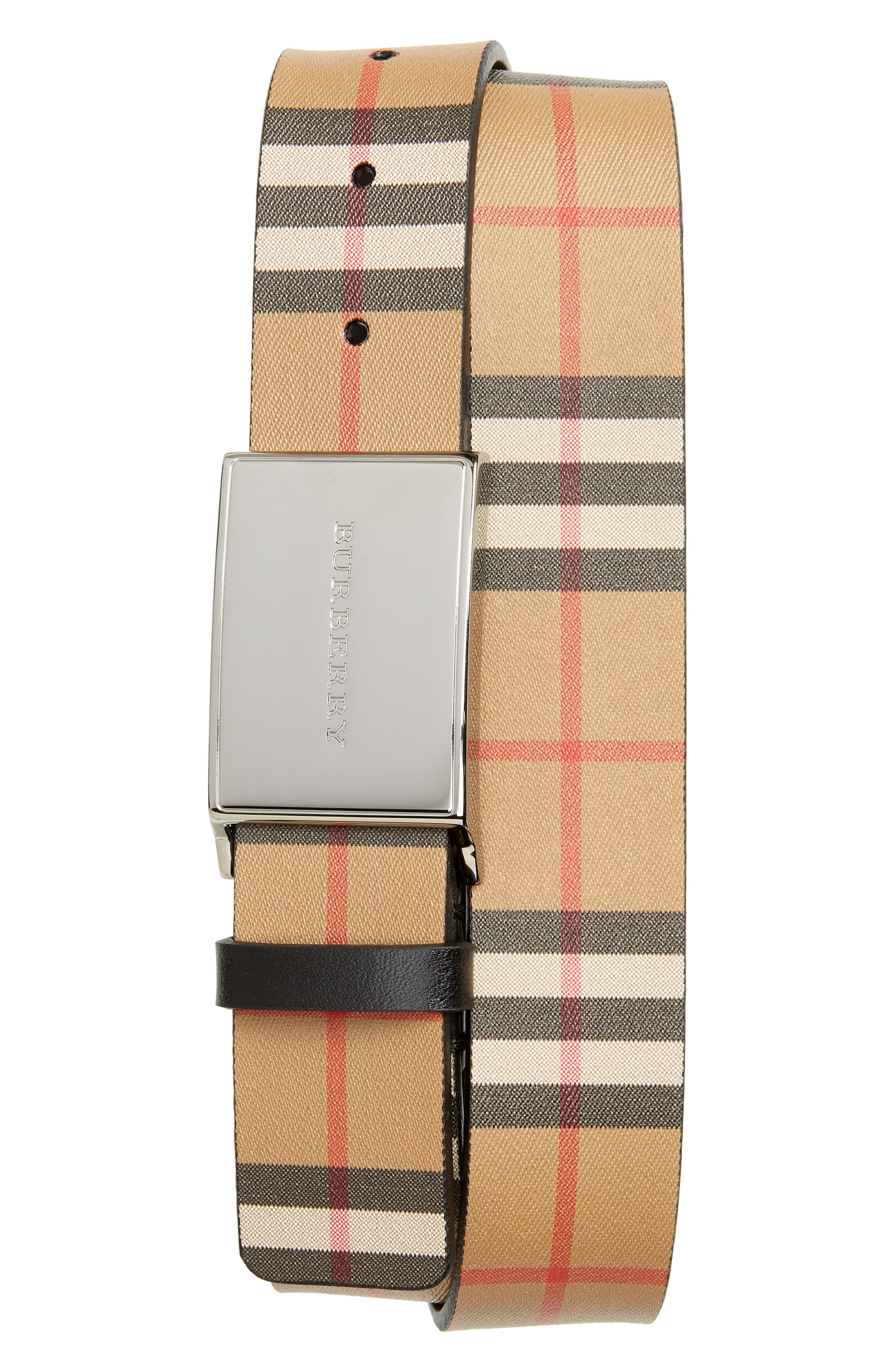 Charles Check Belt,                         Main,                         color, BLACK
