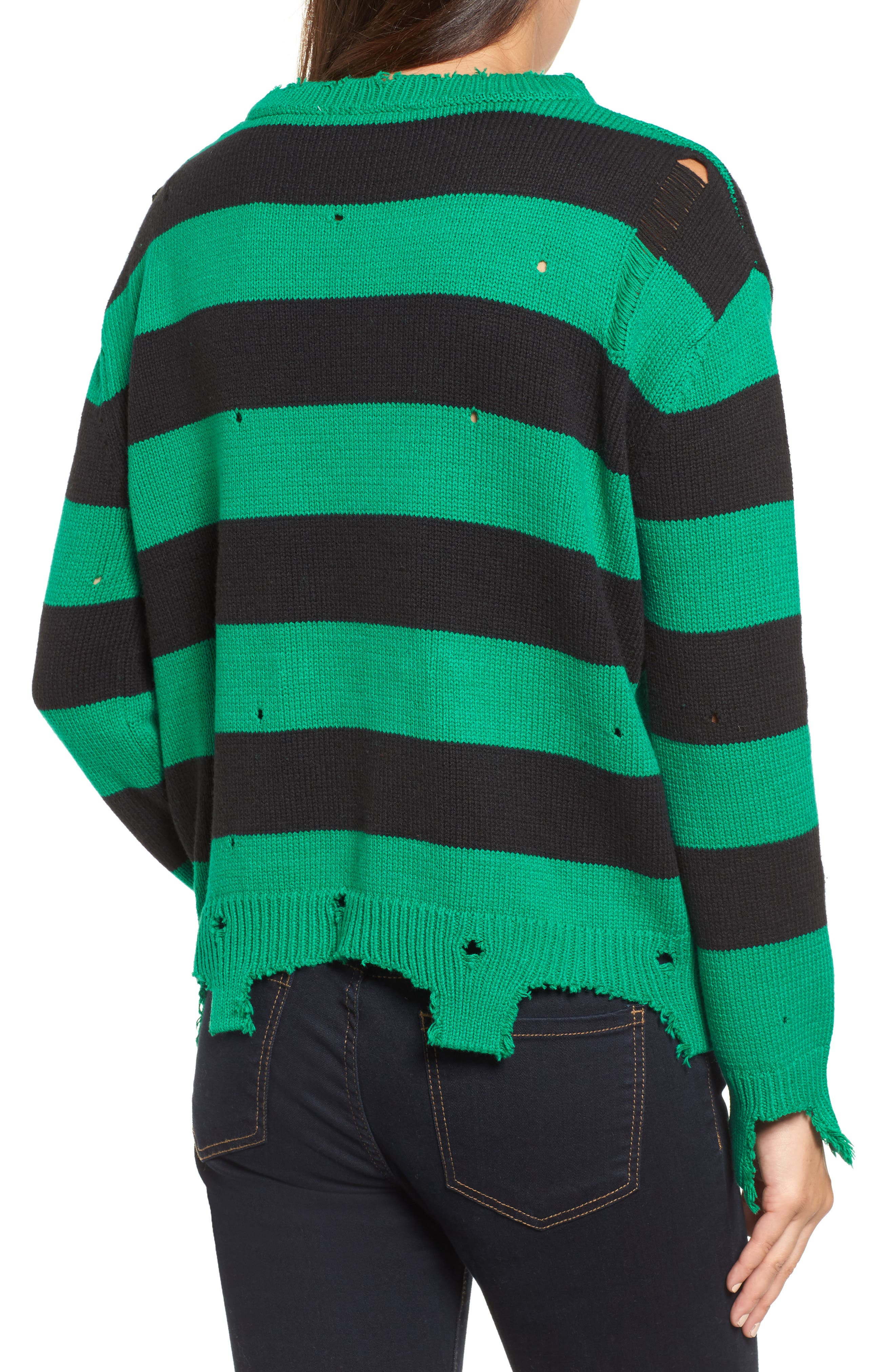 Destroyed Stripe Sweater,                             Alternate thumbnail 2, color,                             300