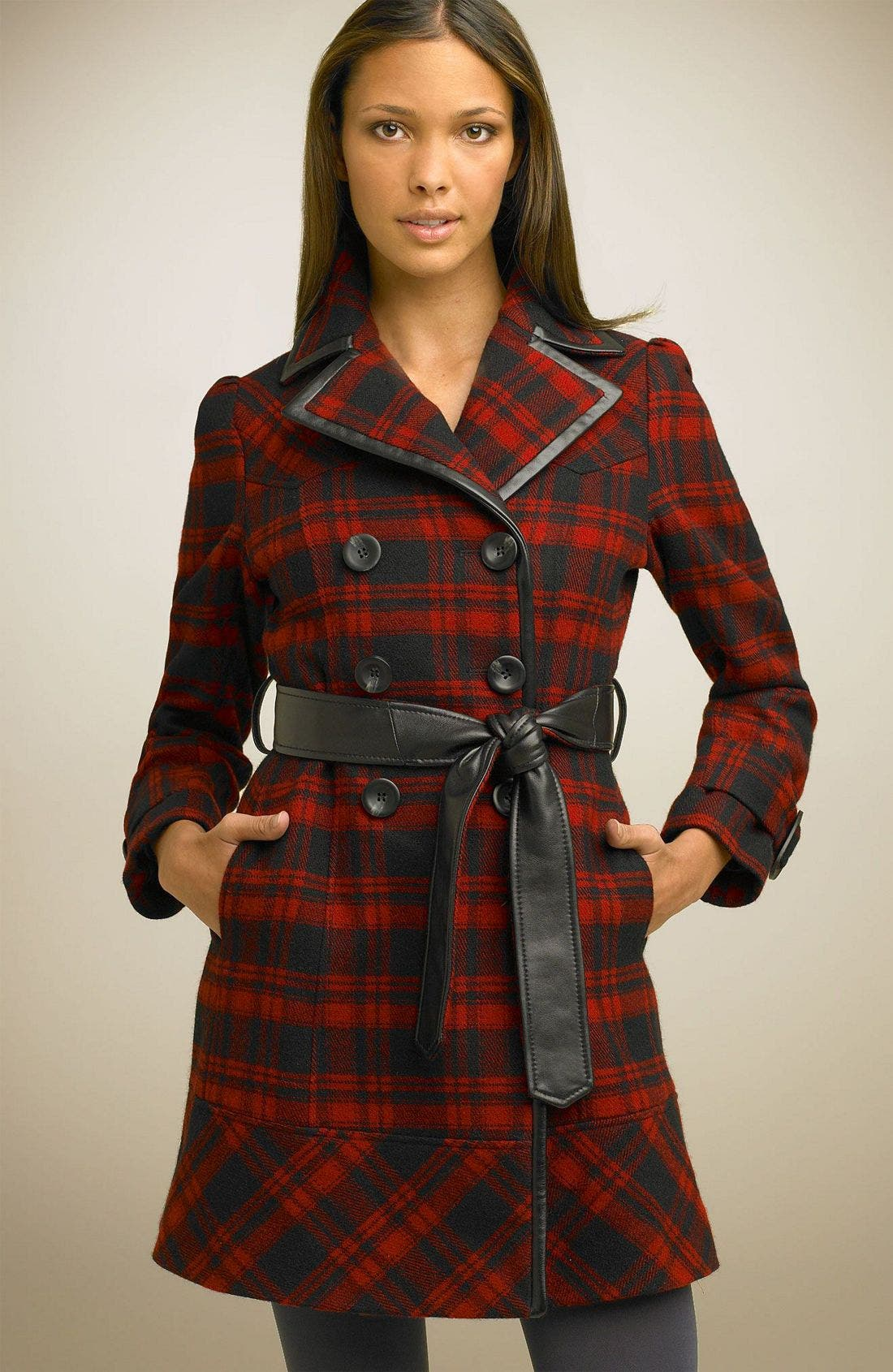 Plaid Wool Blend Trench Coat,                             Main thumbnail 1, color,                             BRD