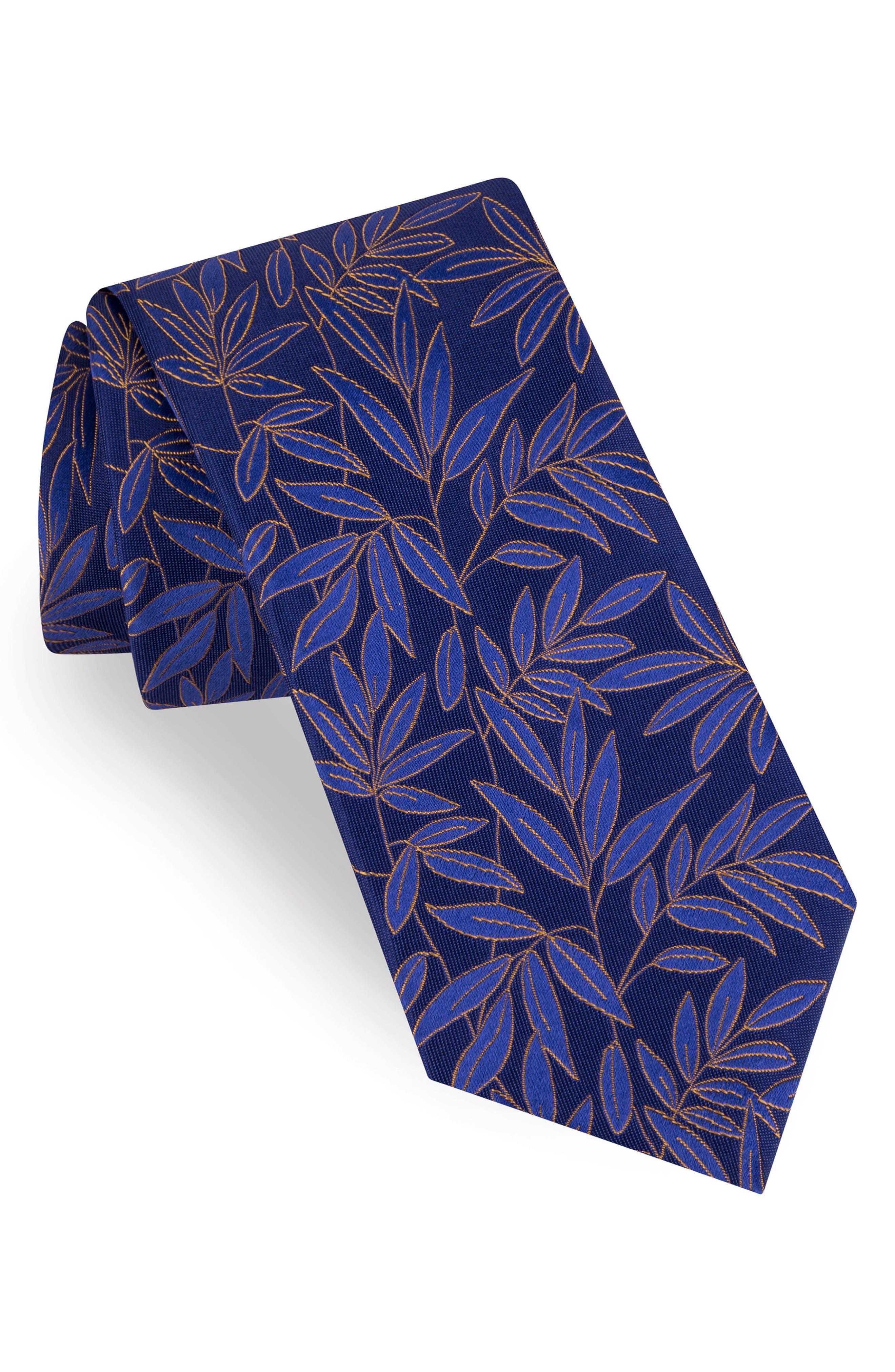 Tonal Leaves Silk Tie,                         Main,                         color, 411