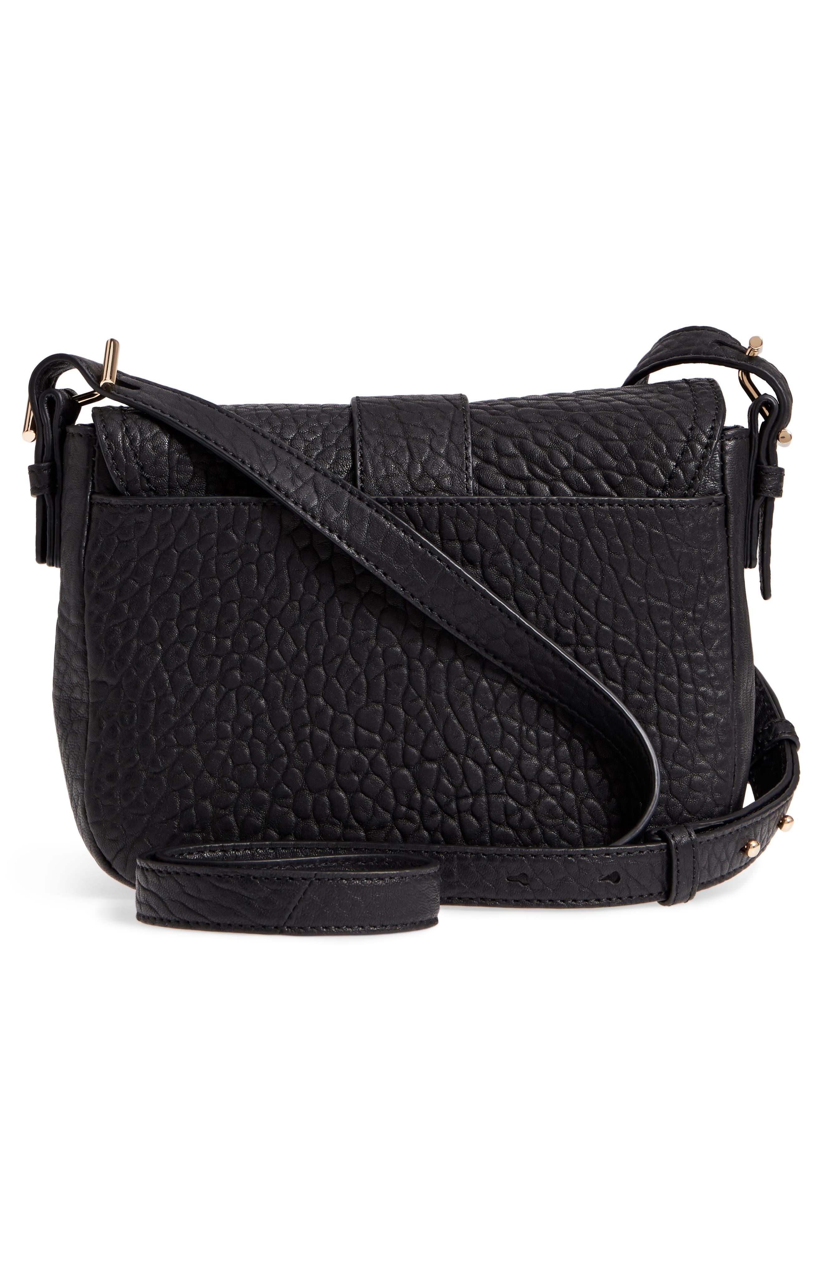 Fava Leather Crossbody Bag,                             Alternate thumbnail 3, color,                             001