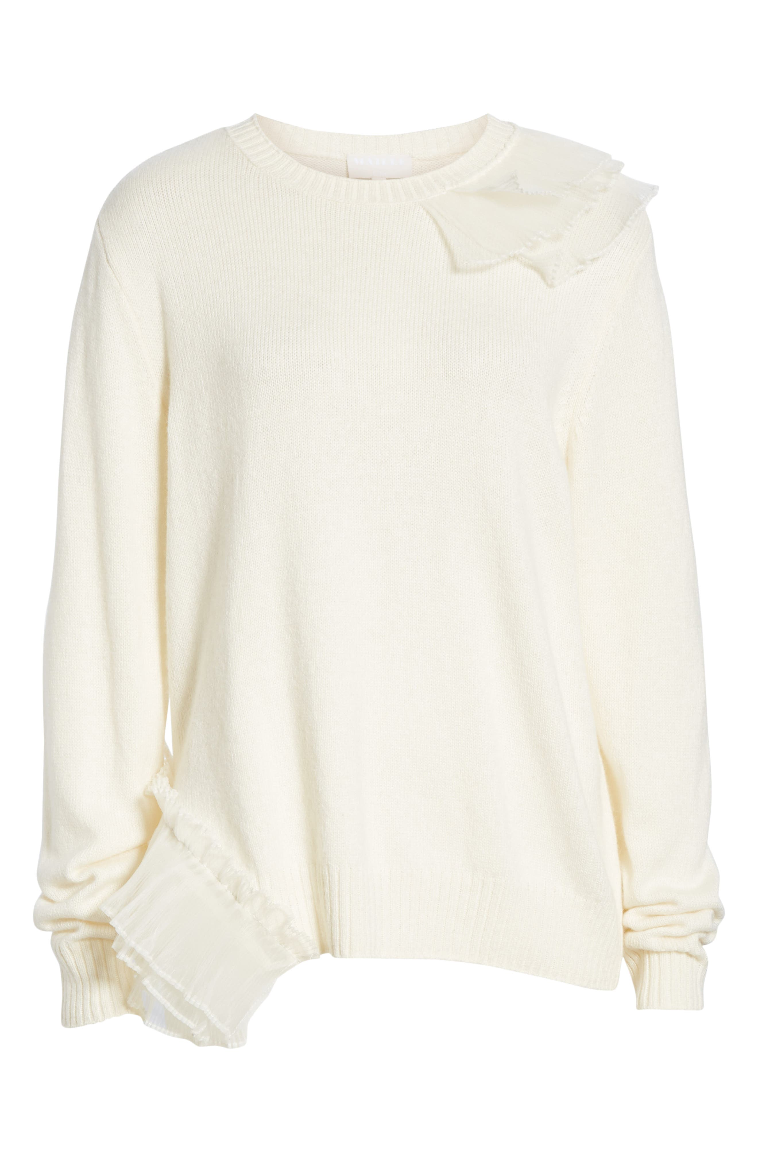 Asymmetric Ruffle Trim Sweater,                             Alternate thumbnail 6, color,                             IVORY