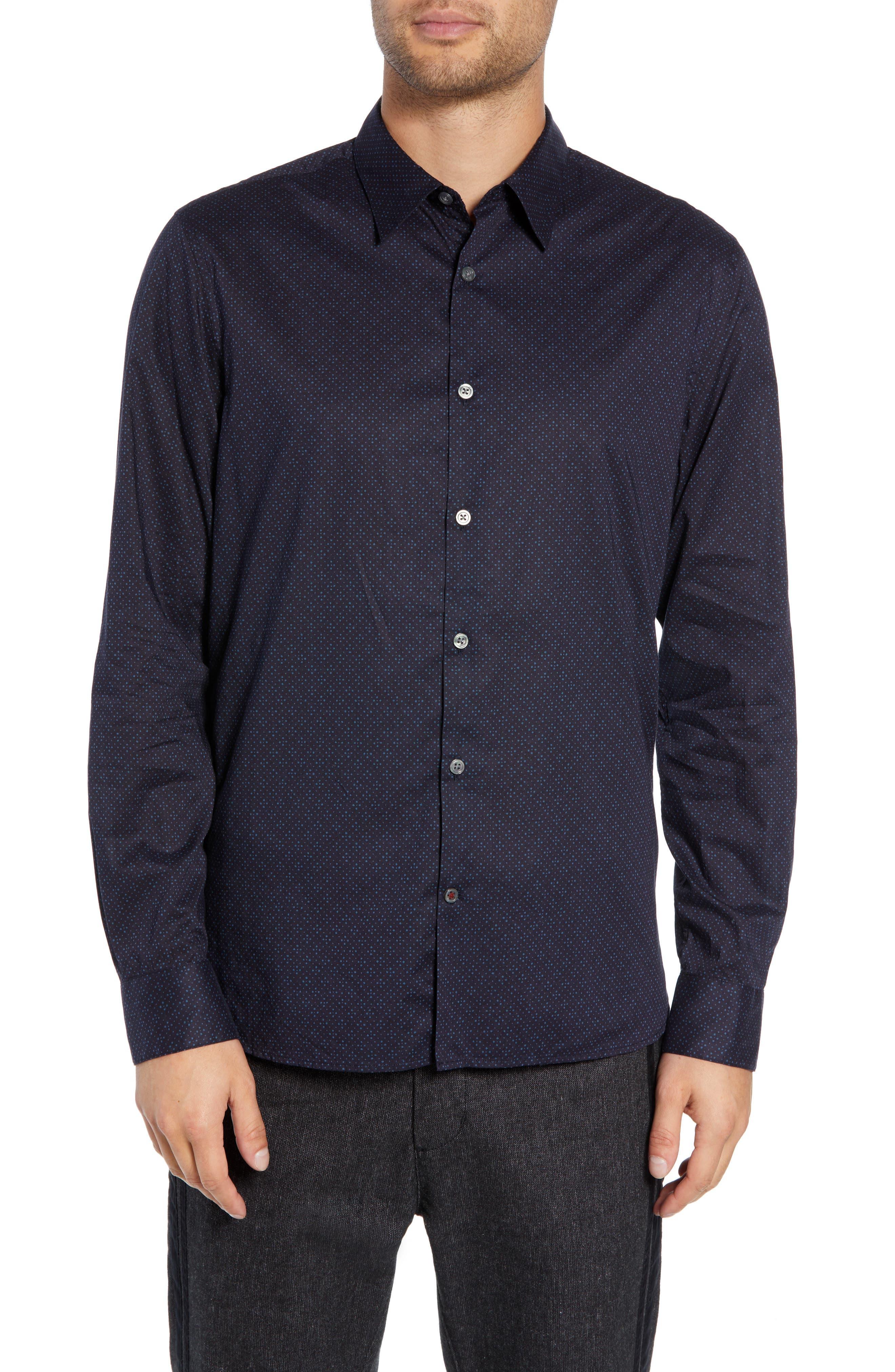 Diamond Print Sport Shirt,                         Main,                         color, RAIN BLUE