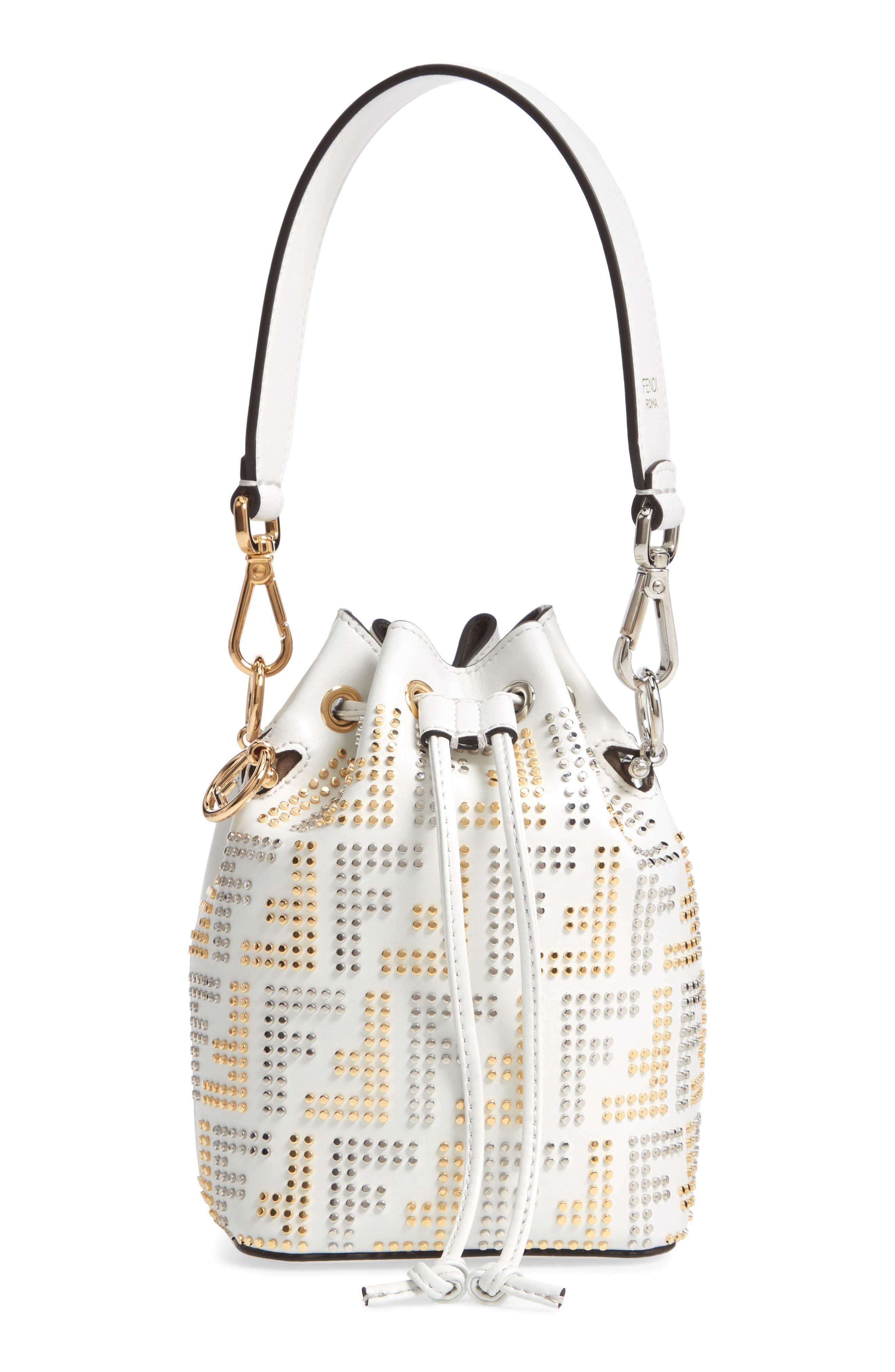 Mon Tresor Studded Logo Leather Bucket Bag by Fendi