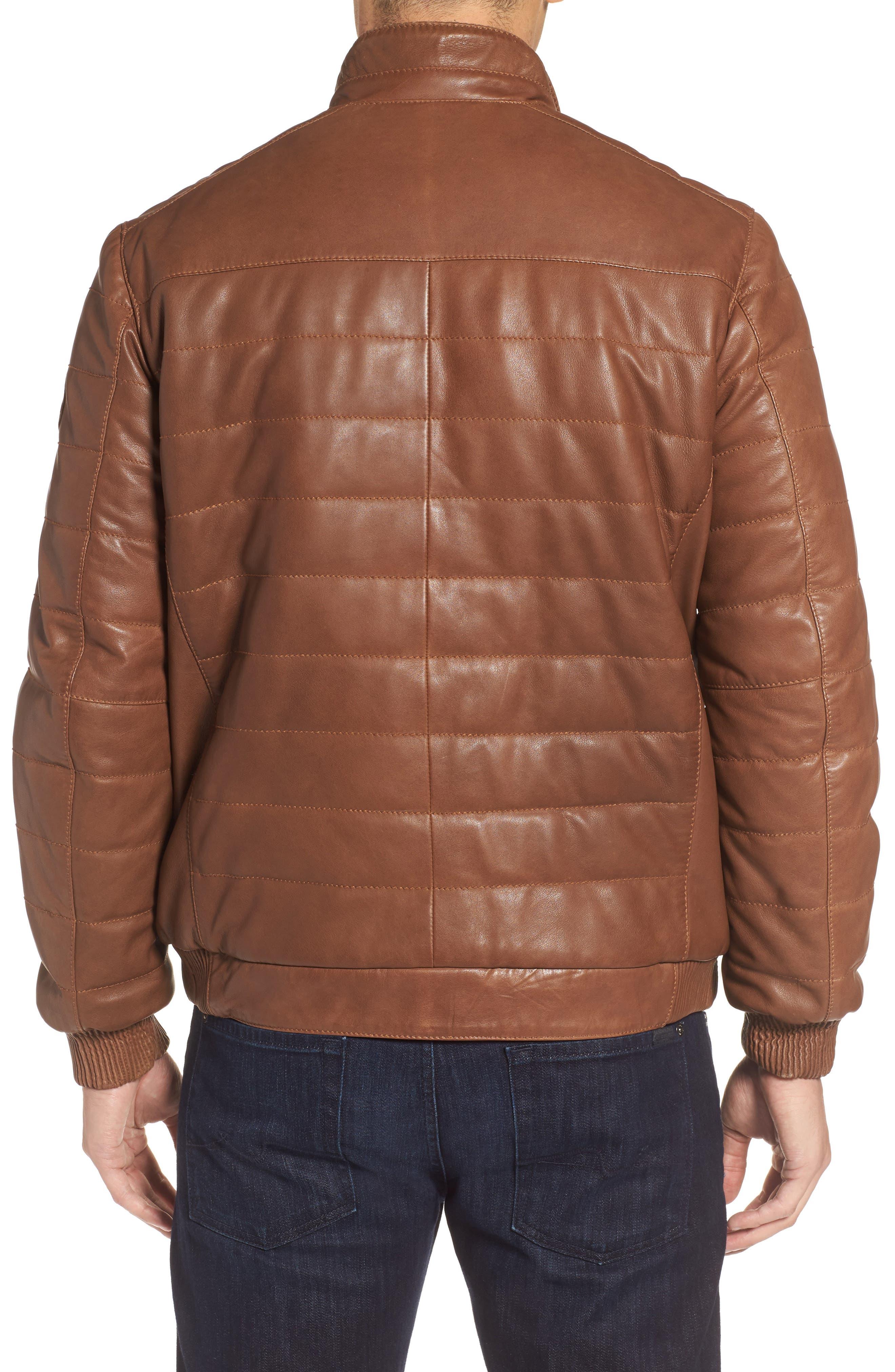 Snowside Leather Bomber Jacket,                             Alternate thumbnail 2, color,                             200