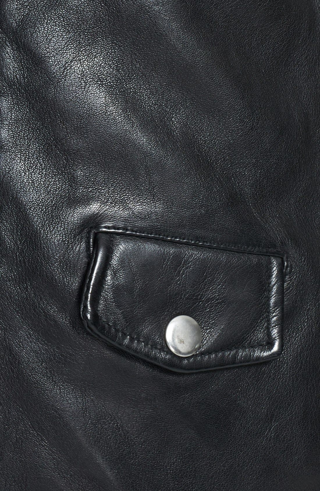 BLK DNM,                             Lambskin Leather Biker Jacket,                             Alternate thumbnail 4, color,                             001