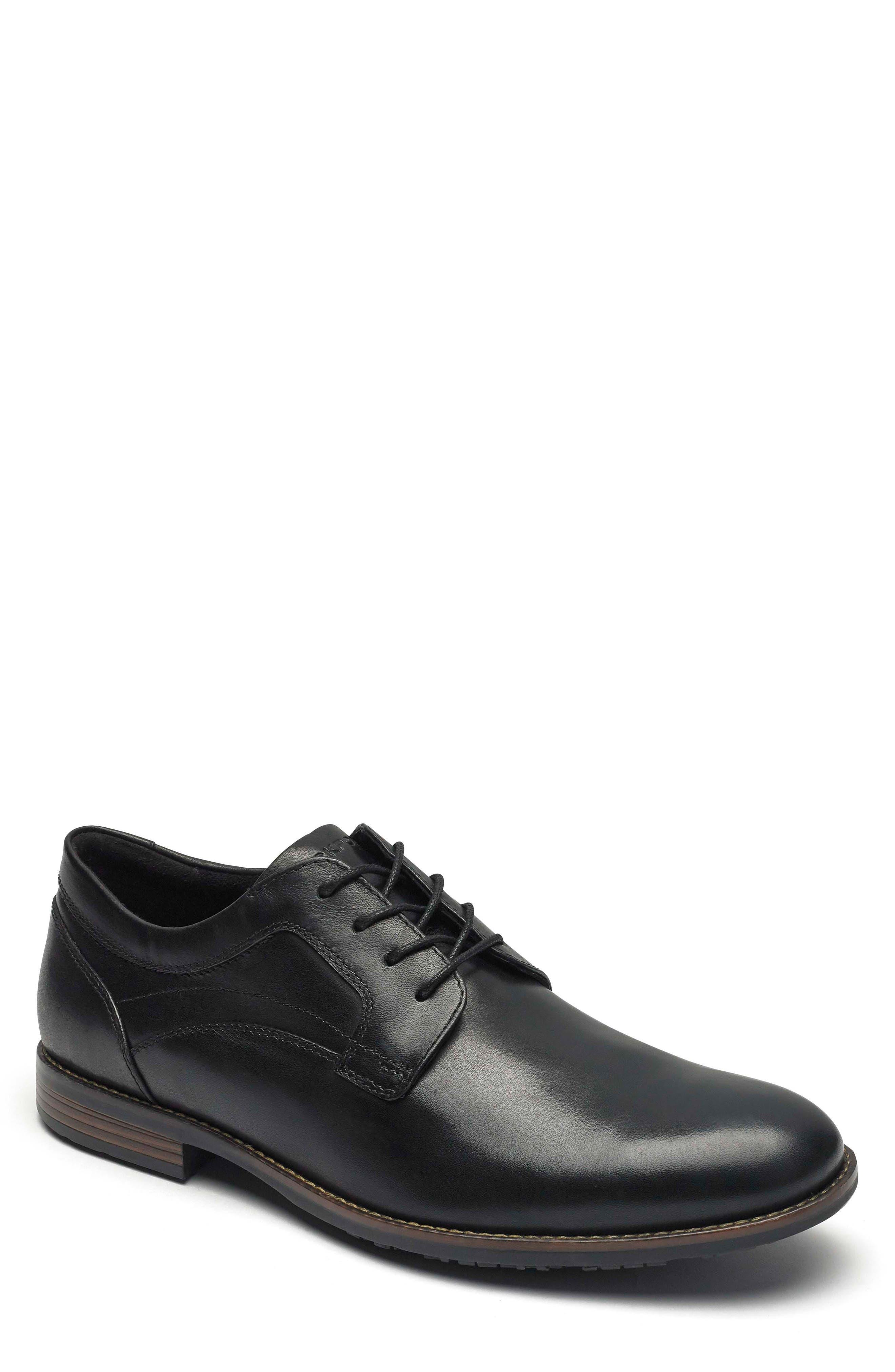 Dustyn Waterproof Plain Toe Derby,                         Main,                         color, BLACK LEATHER