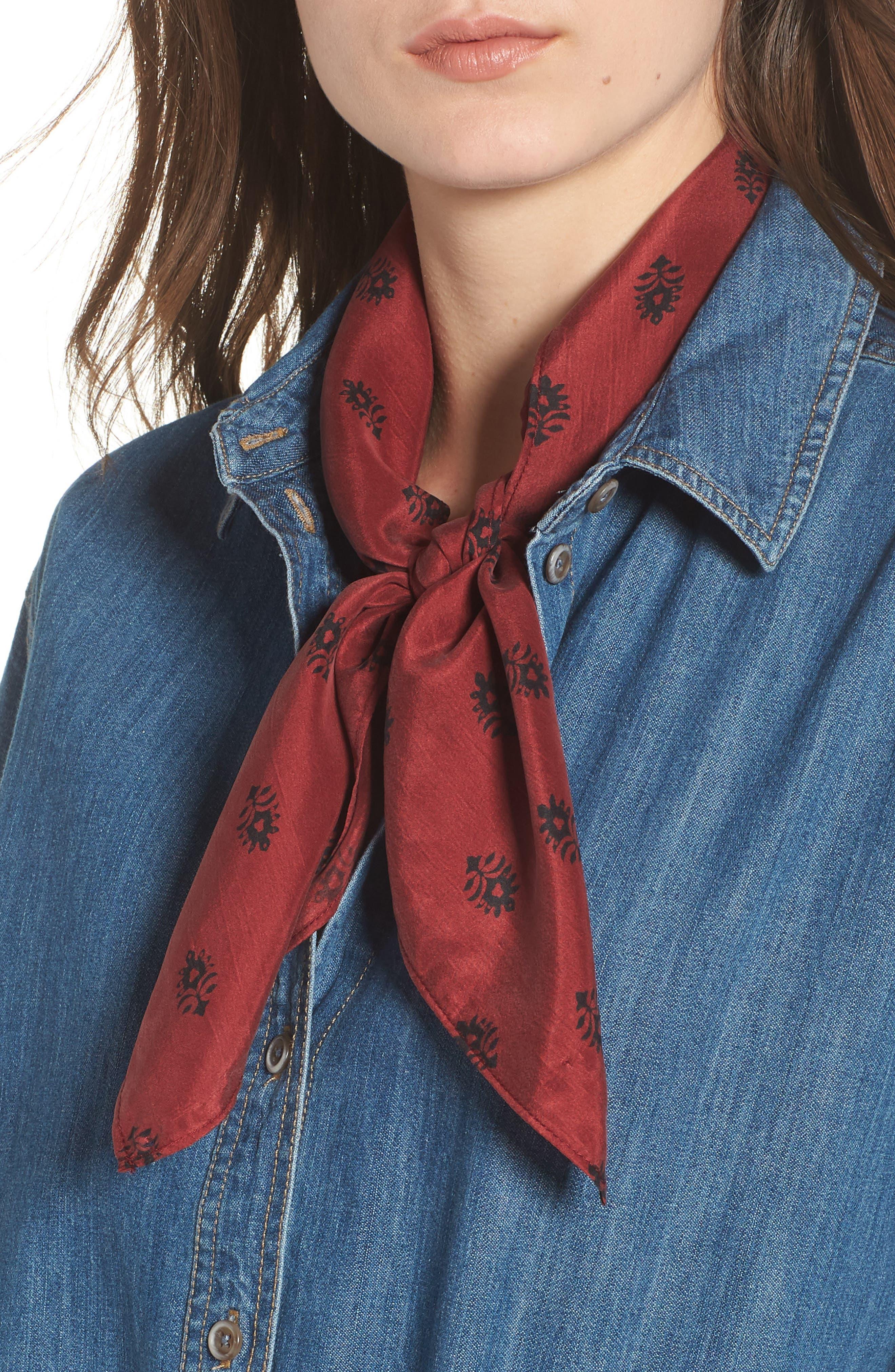 Printed Silk Square Scarf,                         Main,                         color, RED BALI DOTS