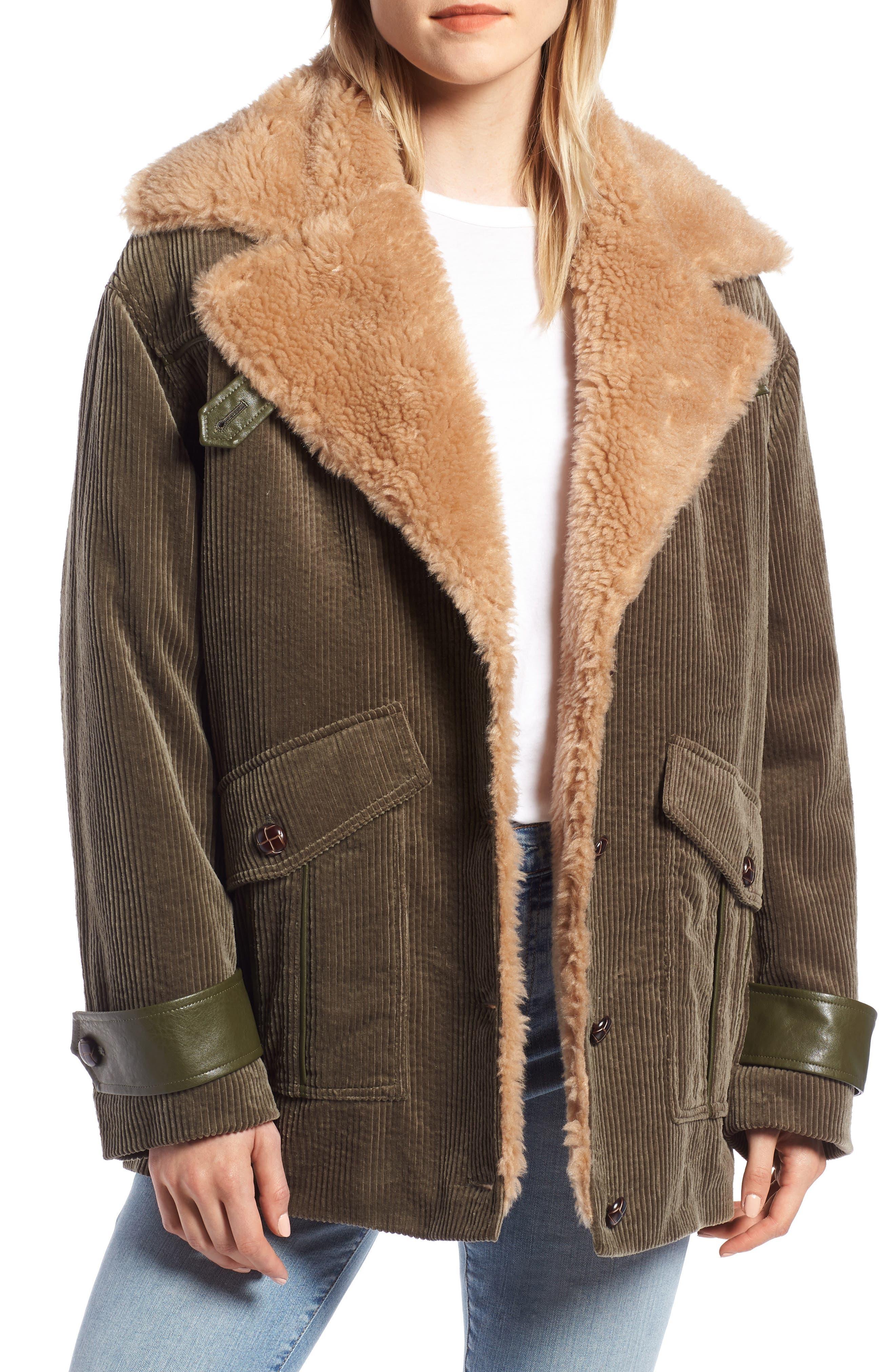 Corduroy & Faux Shearling Trim Jacket,                             Main thumbnail 1, color,                             OLIVE