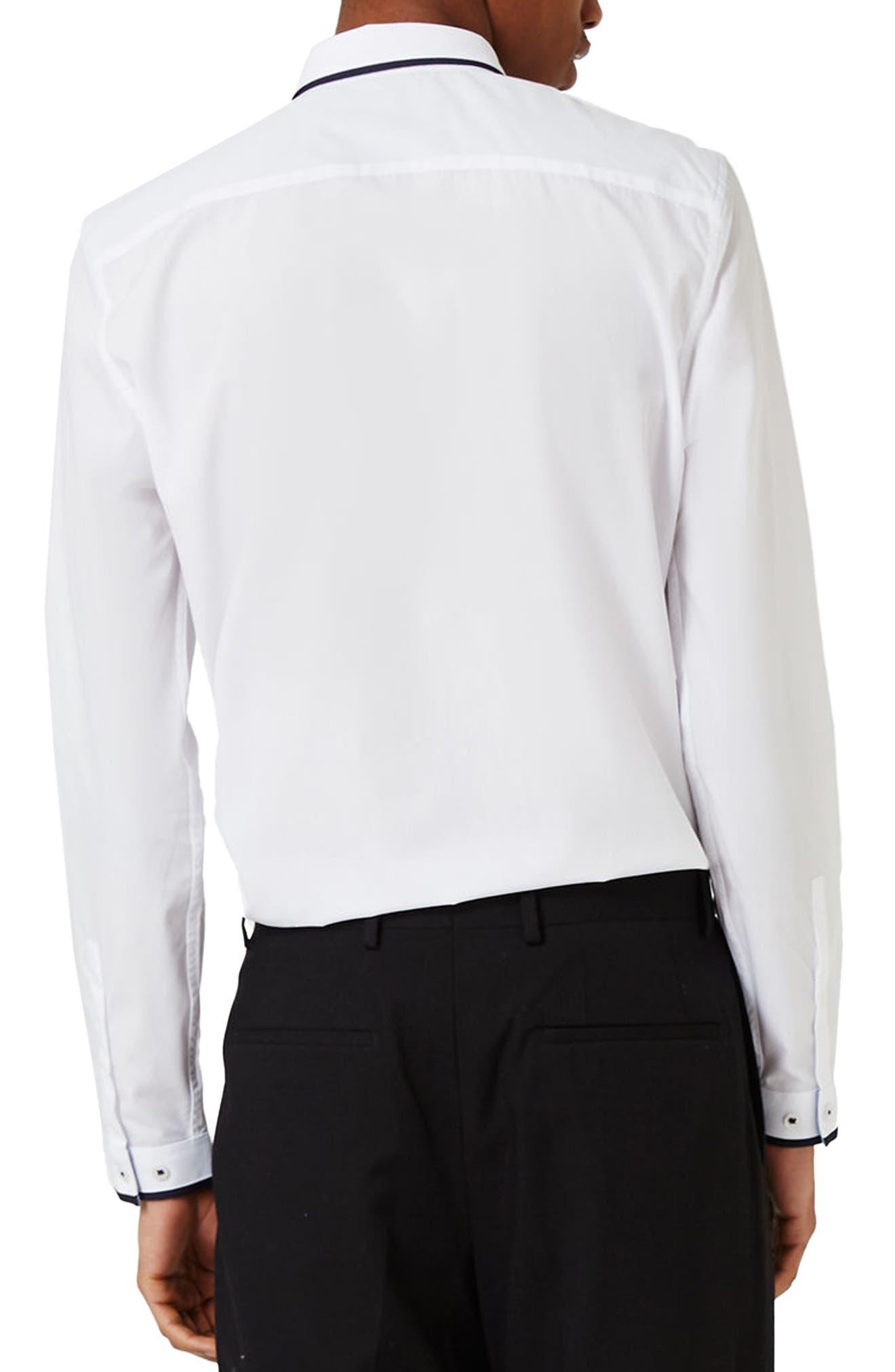 White Contrast Dress Shirt,                             Alternate thumbnail 3, color,                             100