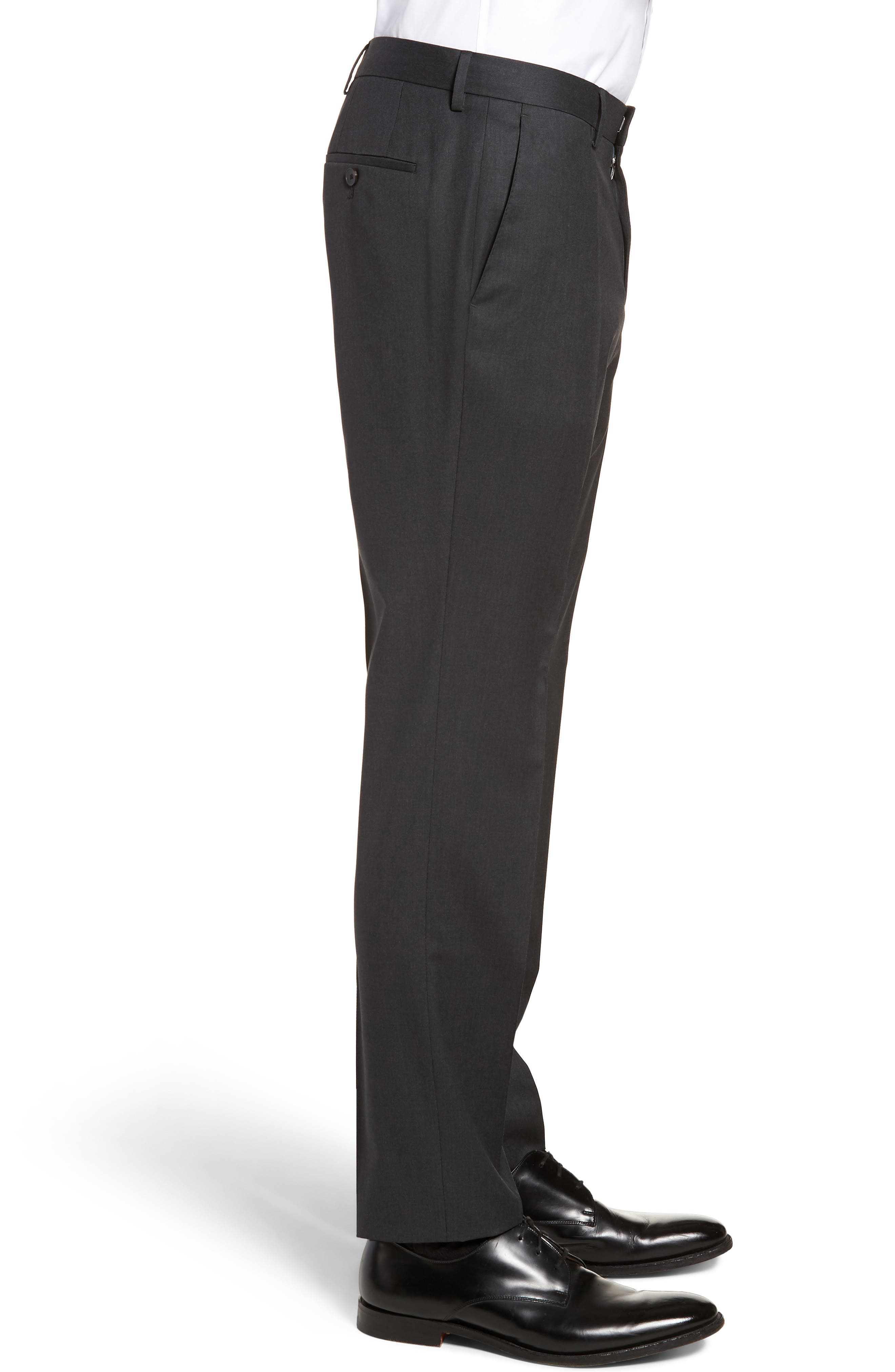 Gibson CYL Flat Front Solid Wool Trousers,                             Alternate thumbnail 3, color,                             DARK GREY