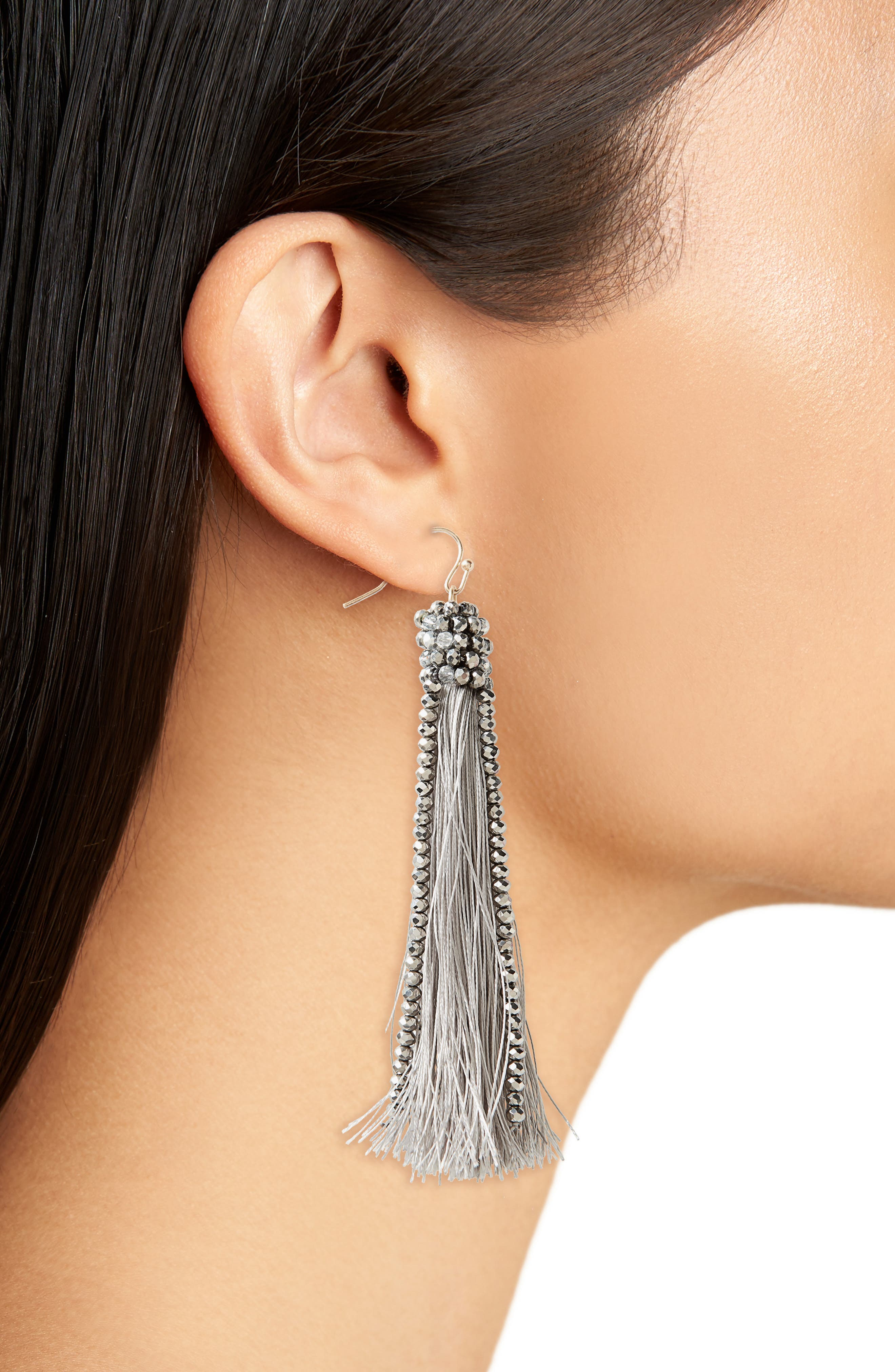 Beaded Tassel Earrings,                             Alternate thumbnail 2, color,                             040