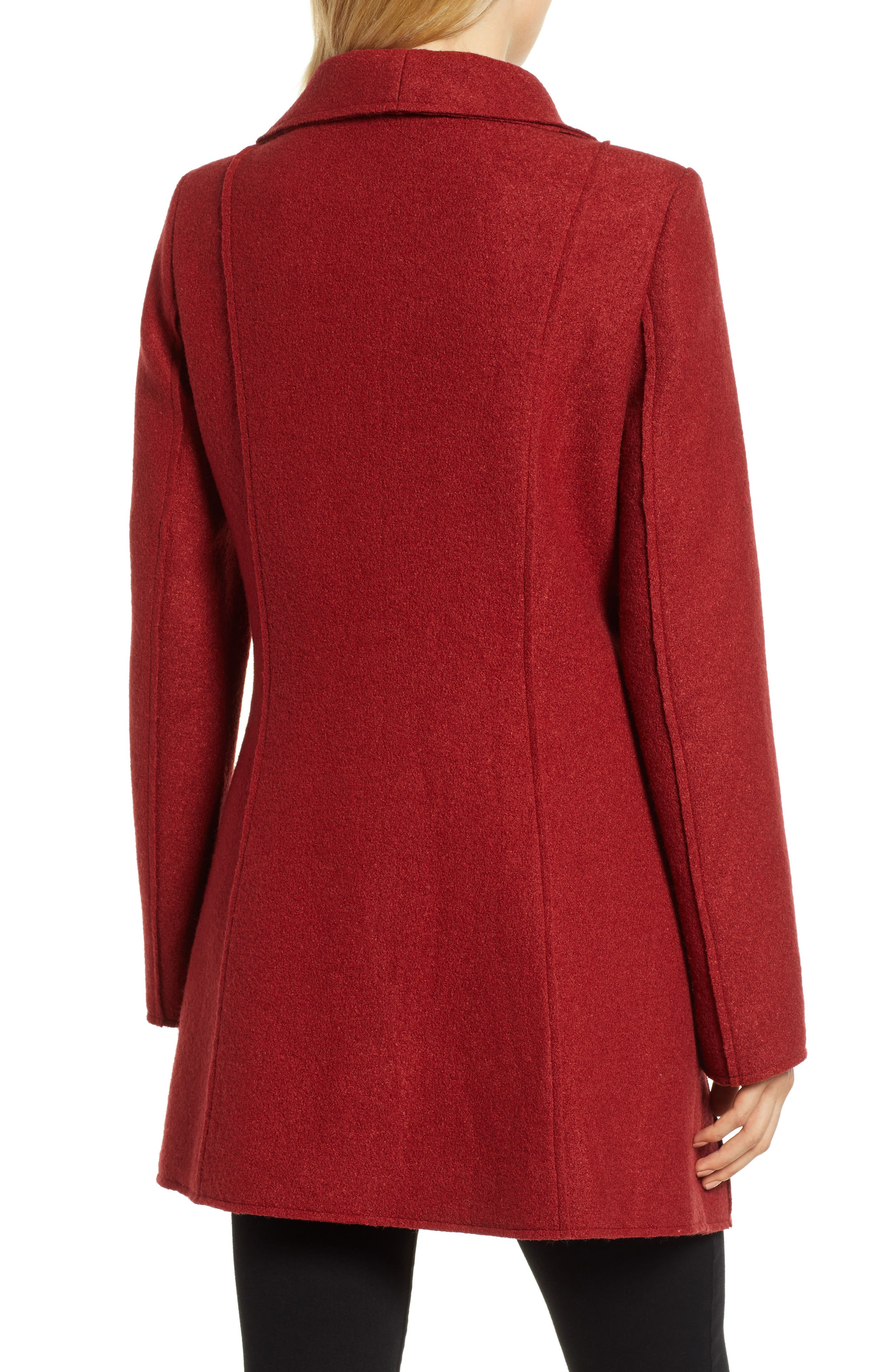 HALOGEN<SUP>®</SUP>,                             Asymmetrical Zip Boiled Wool Blend Coat,                             Alternate thumbnail 2, color,                             BRICK RED