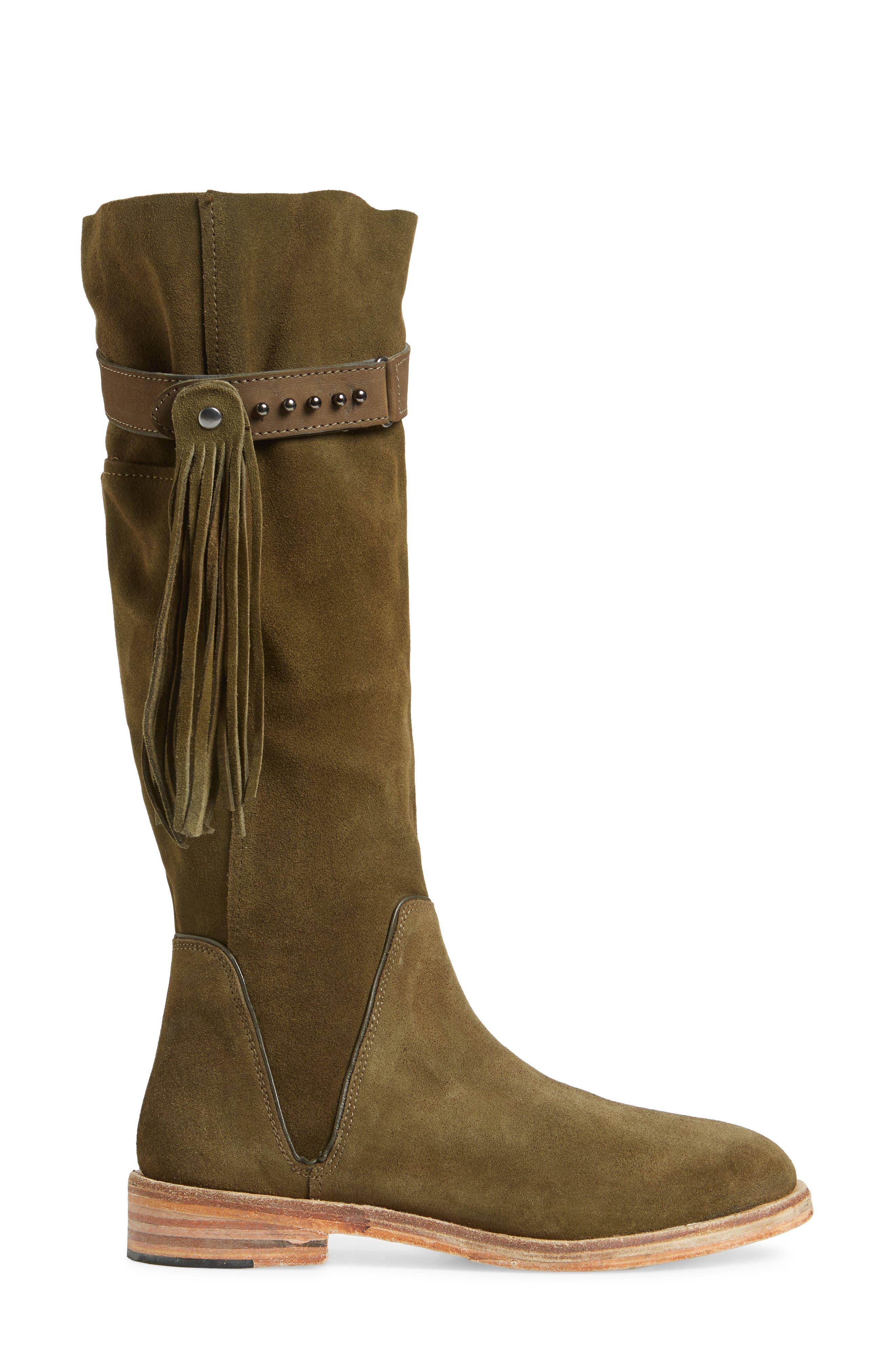 Sayre Fringe Knee High Boot,                             Alternate thumbnail 3, color,                             300