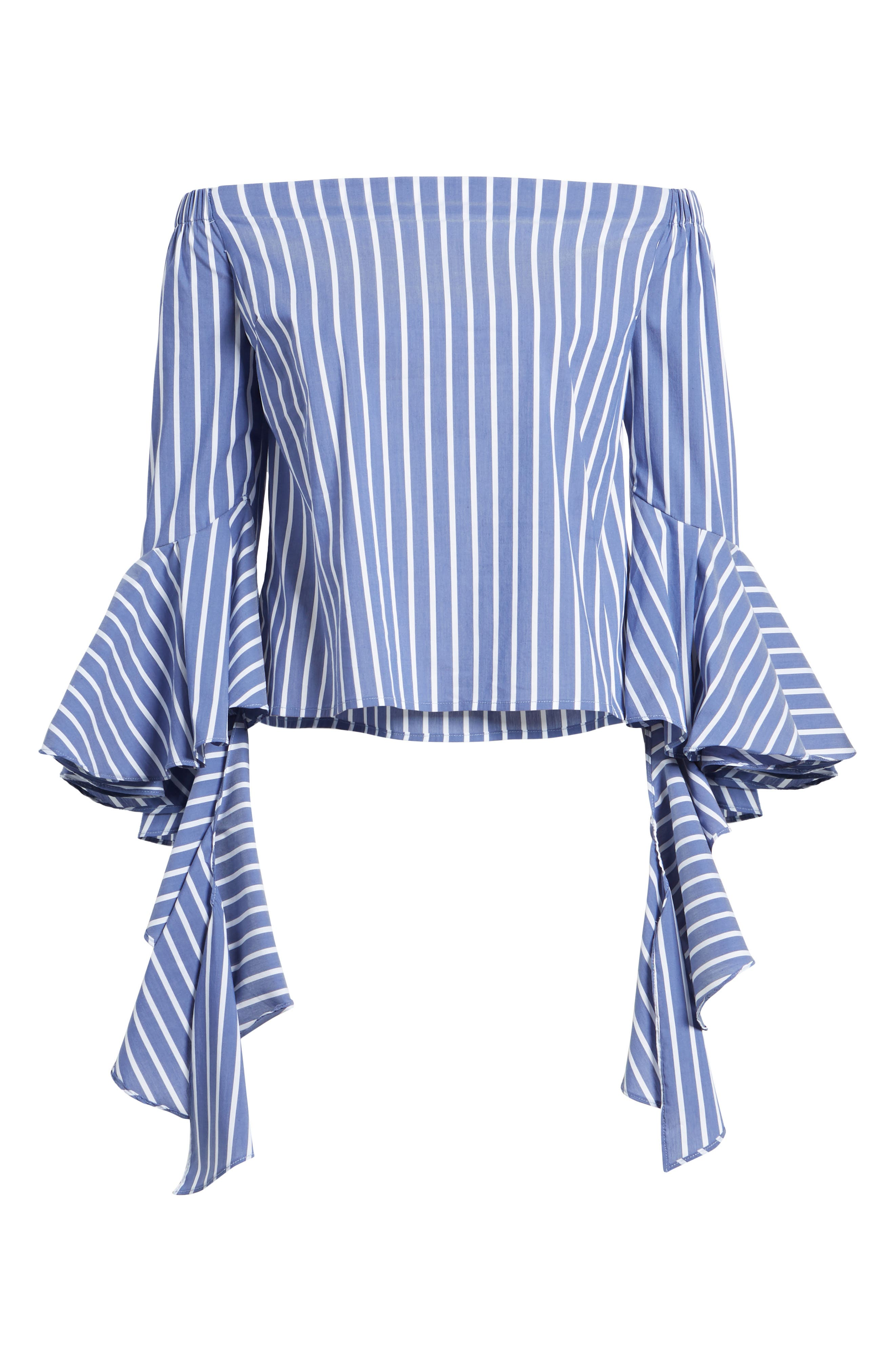 Bishop + Young Gigi Ruffle Sleeve Off the Shoulder Top,                             Alternate thumbnail 7, color,                             BLUE WHITE STRIPE