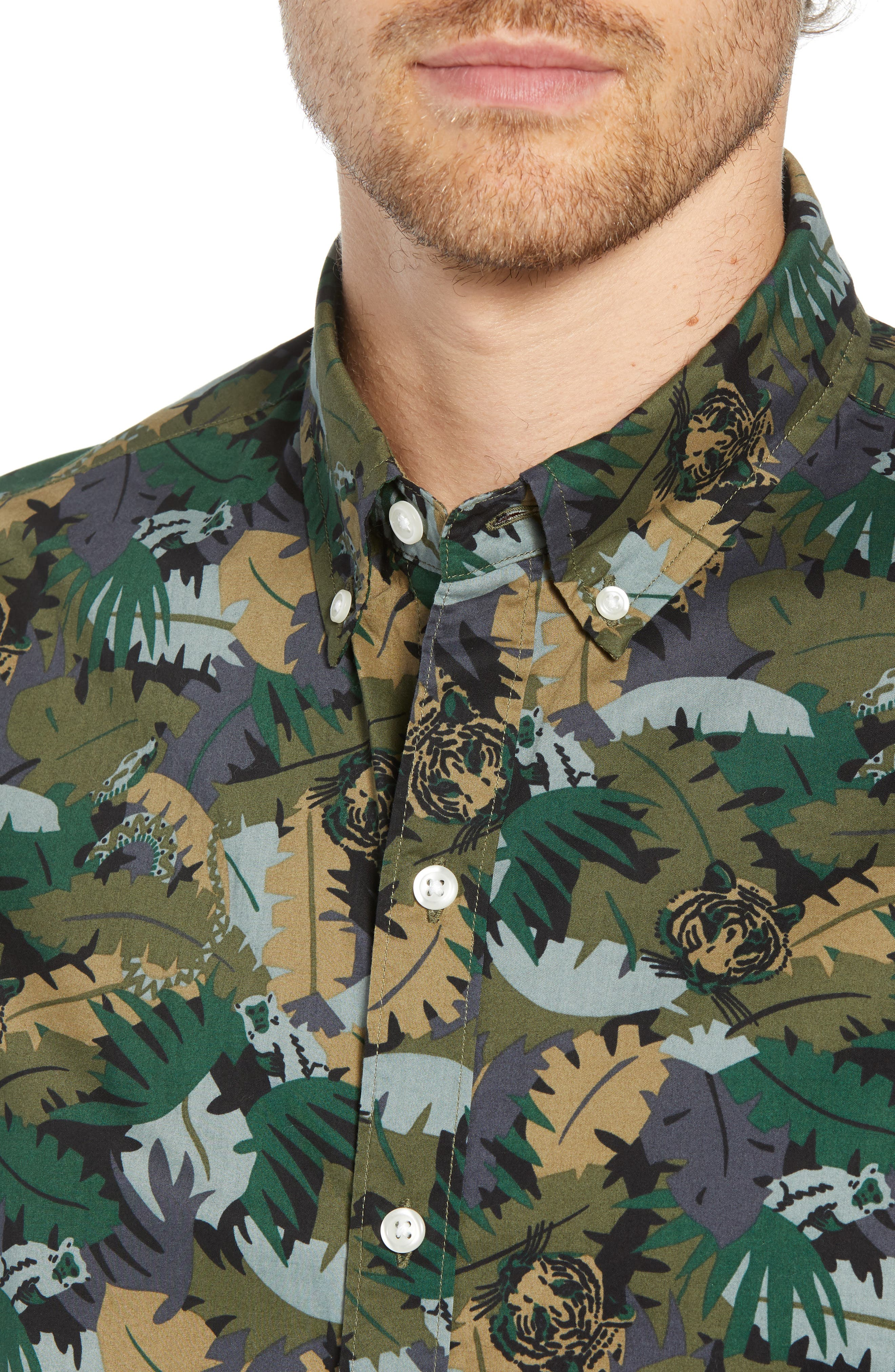 Riviera Slim Fit Jungle Camo Sport Shirt,                             Alternate thumbnail 2, color,                             001
