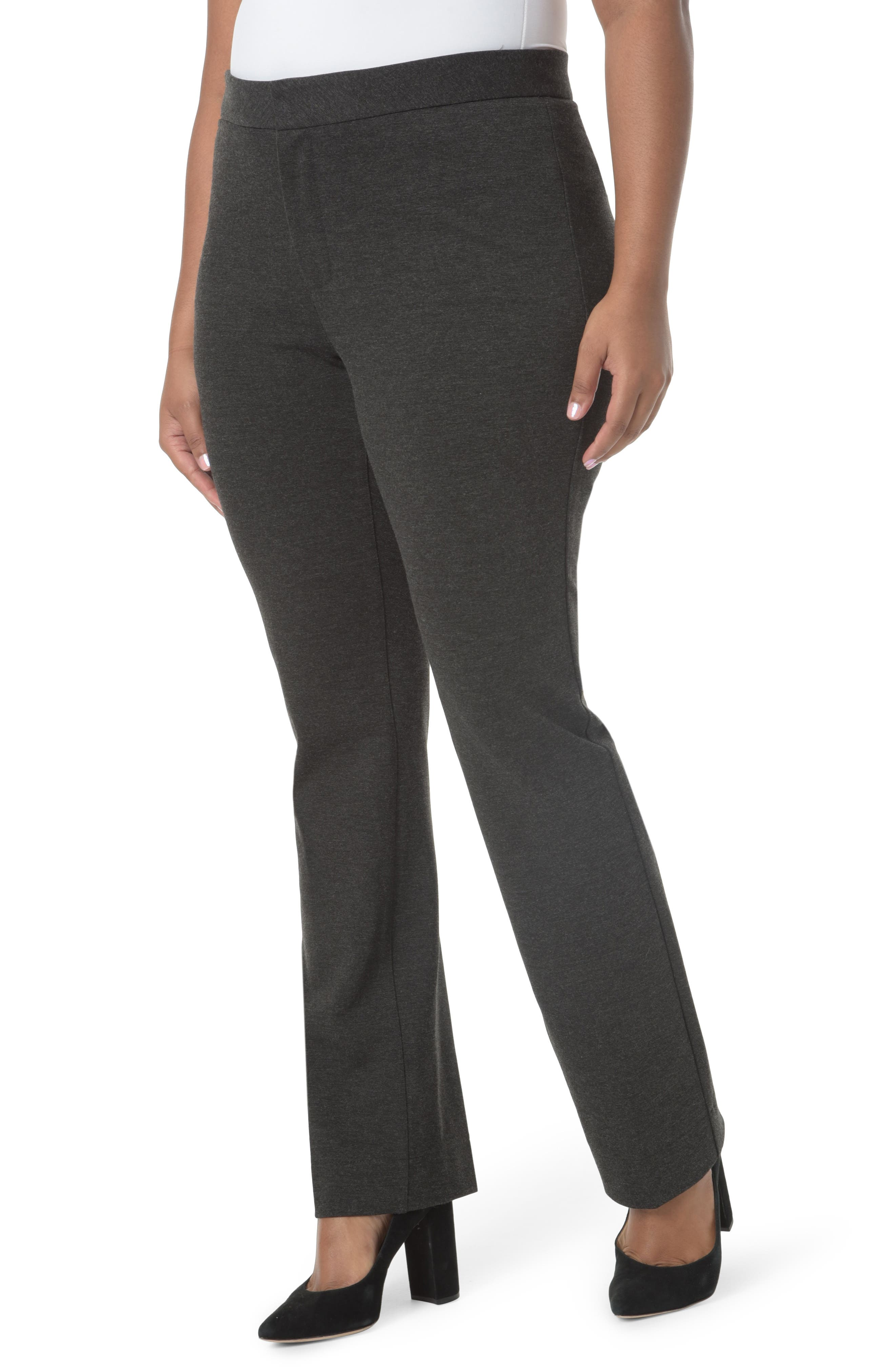 Stretch Knit Straight Leg Trousers,                             Main thumbnail 1, color,                             CHARCOAL