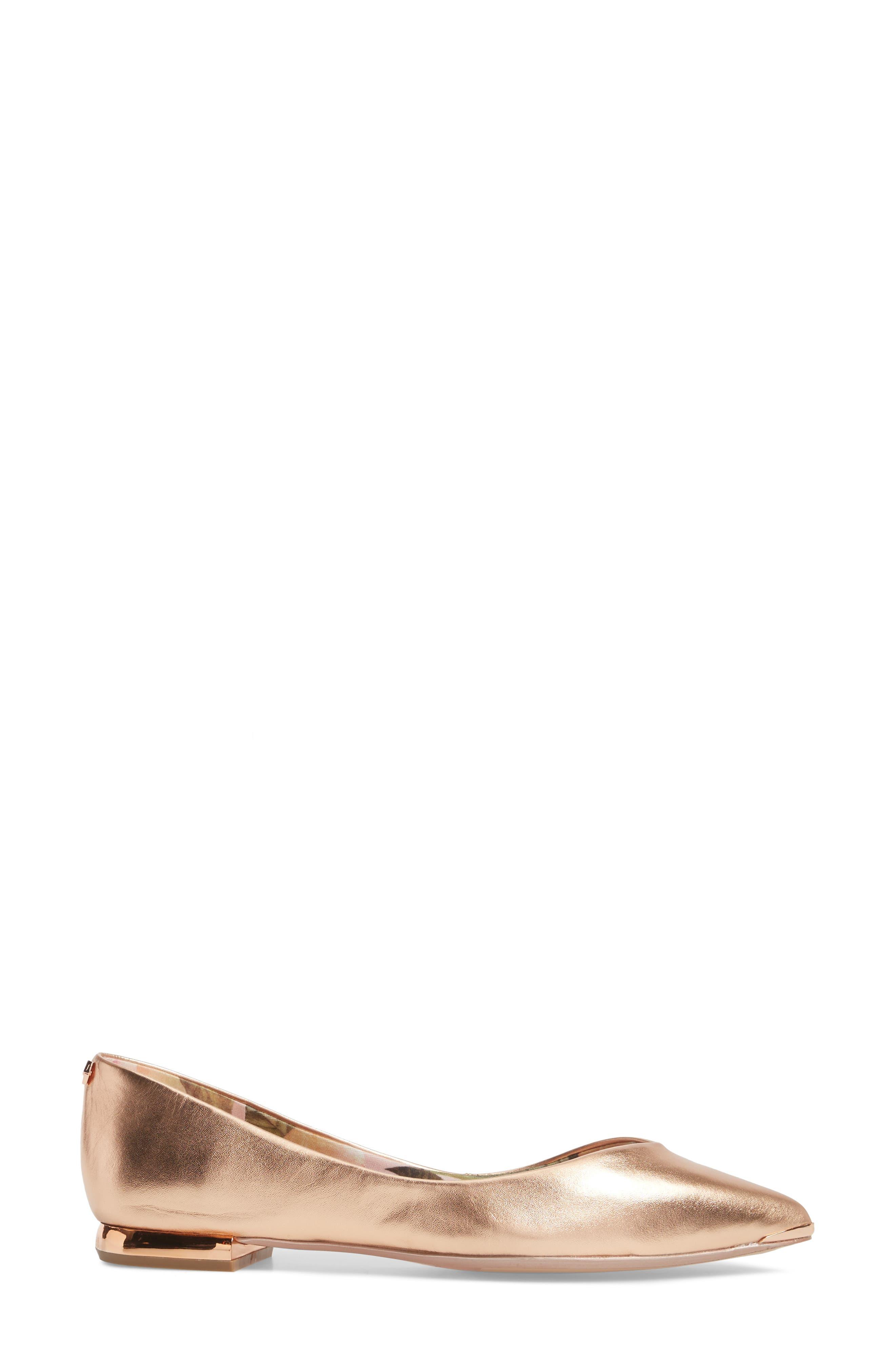 Grasce Flat,                             Alternate thumbnail 3, color,                             ROSE GOLD LEATHER