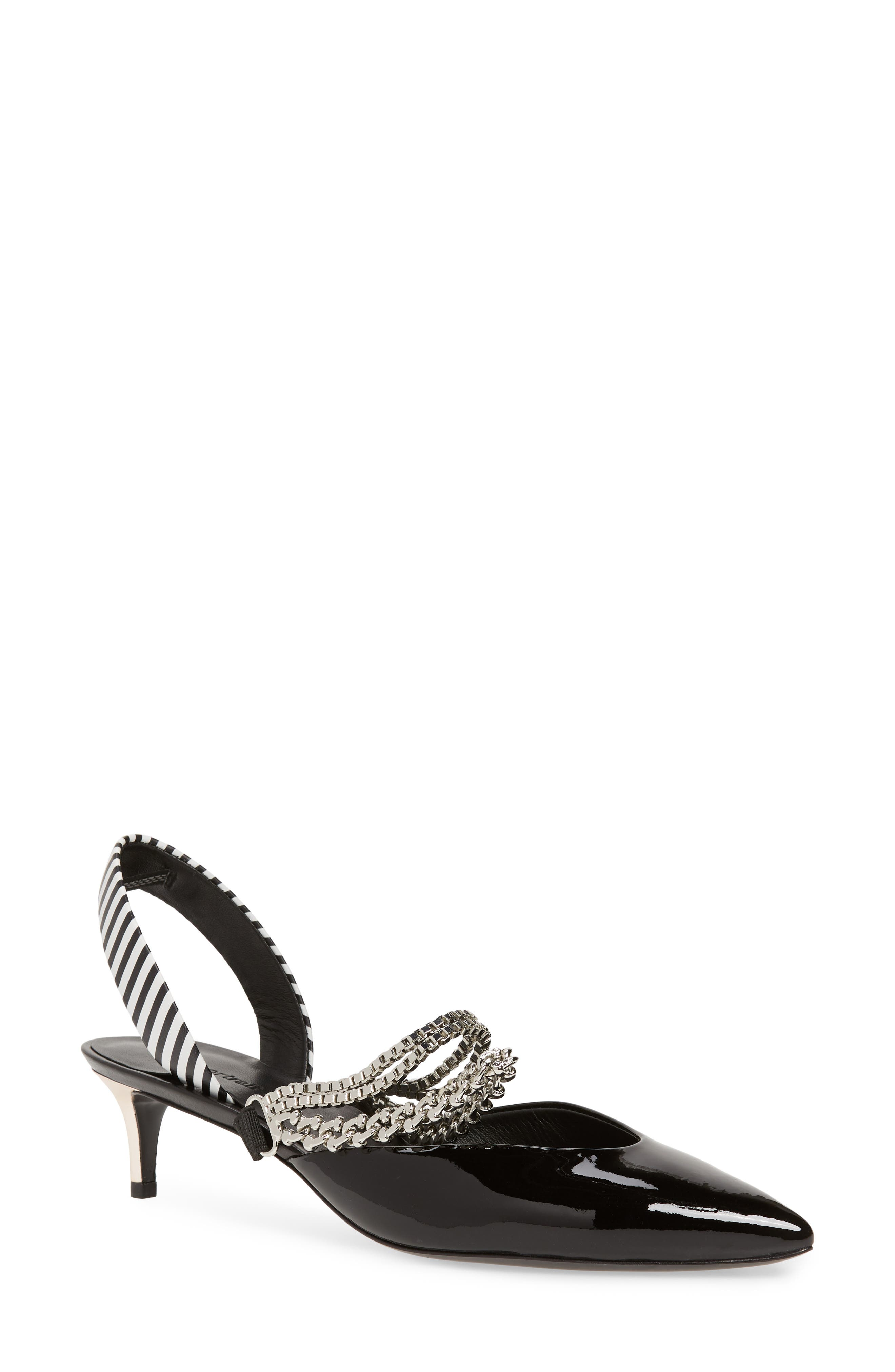 Kitty Chain Embellished Slingback Pump,                         Main,                         color, 001