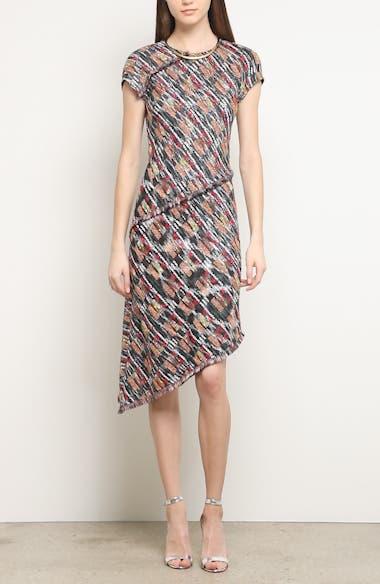 Painterly Tweed Knit Asymmetrical Dress, video thumbnail