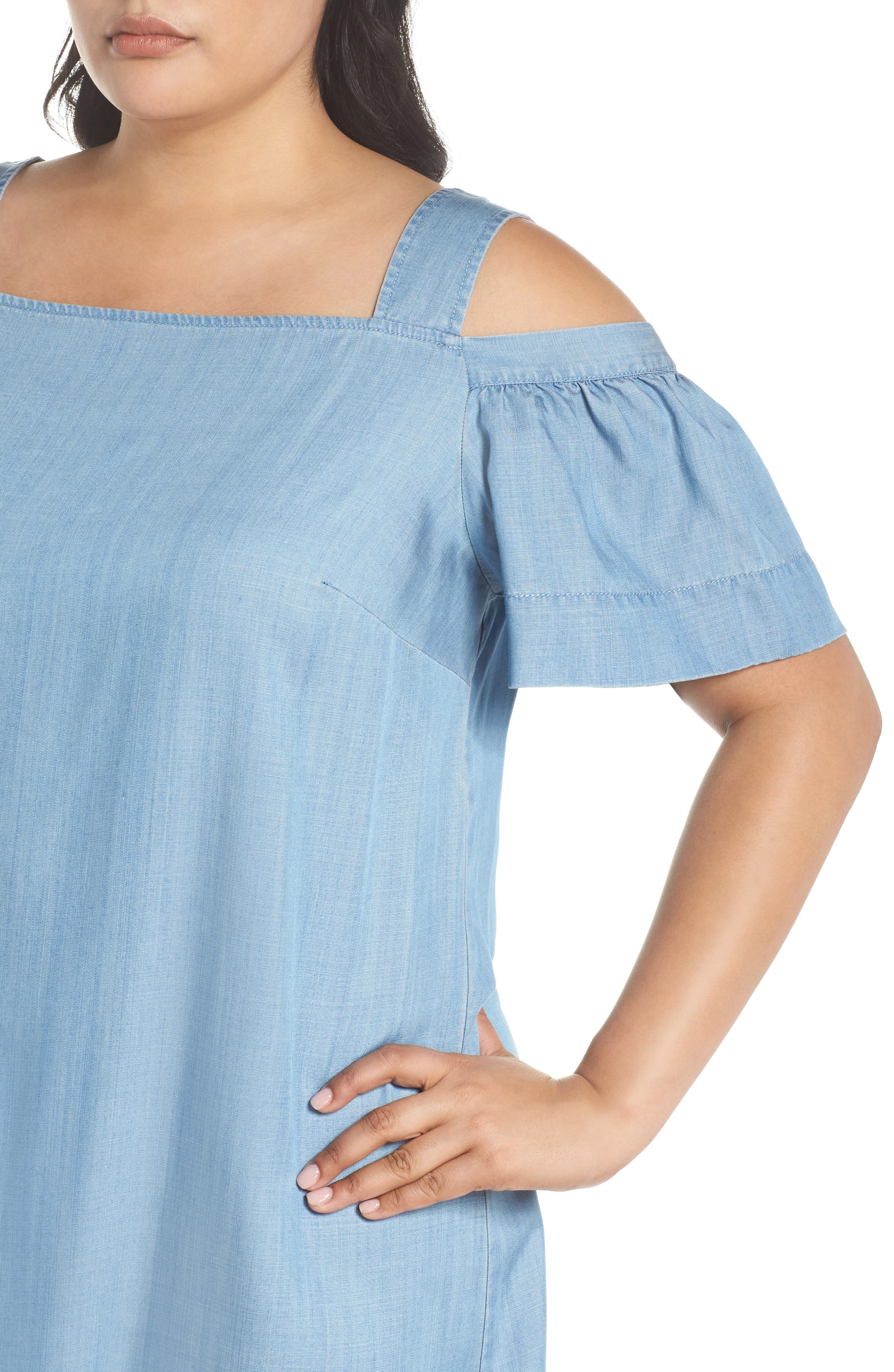 Ruffle Cold Shoulder Chambray Dress,                             Alternate thumbnail 4, color,                             VINTAGE