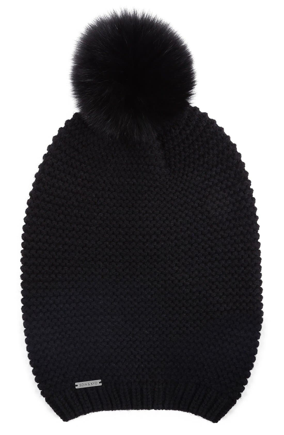 Slouchy Knit Beanie with Genuine Fox Fur Pompom,                             Main thumbnail 3, color,
