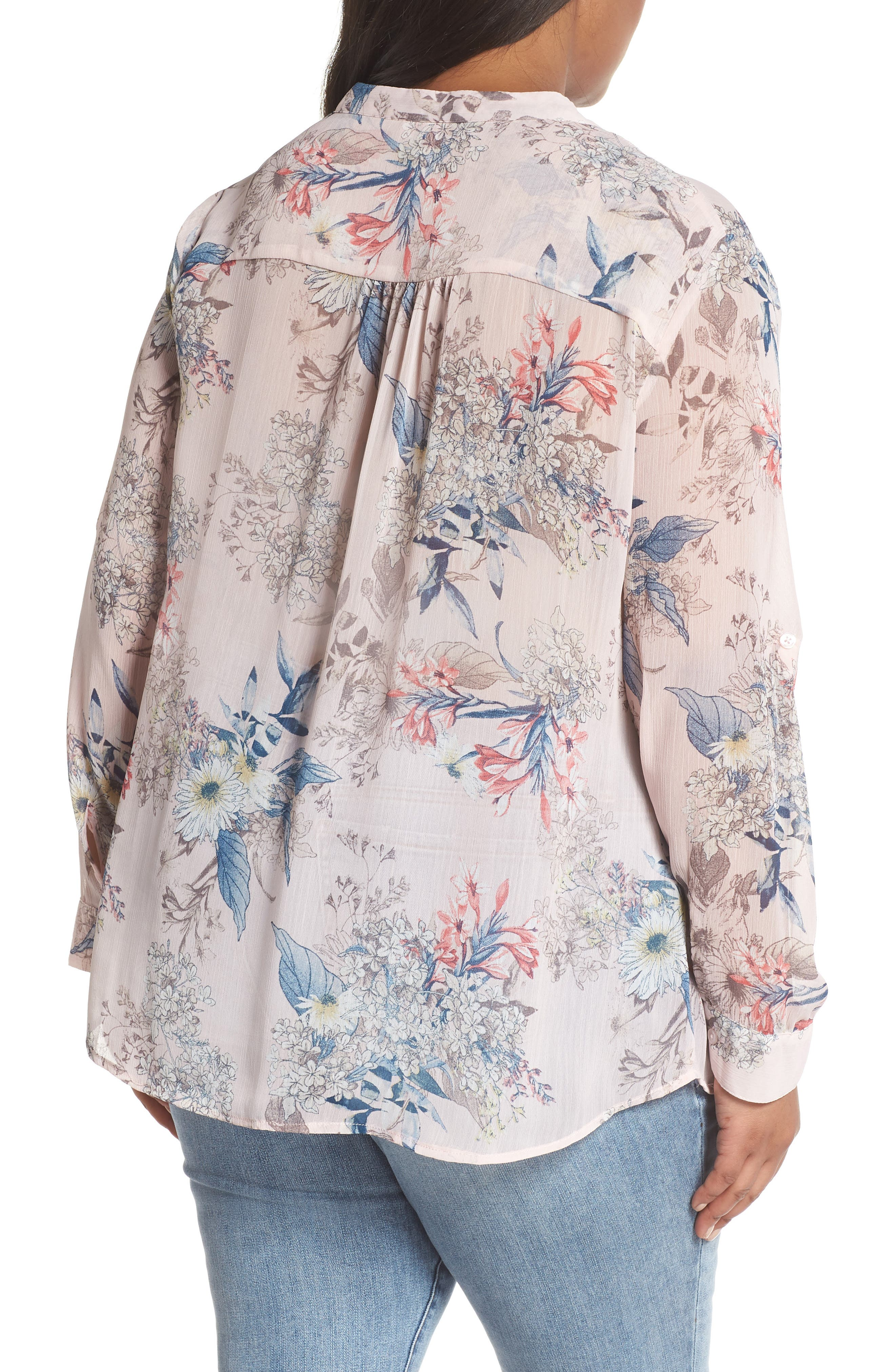 Jasmine Floral Roll Sleeve Top,                             Alternate thumbnail 2, color,                             PALE PINK