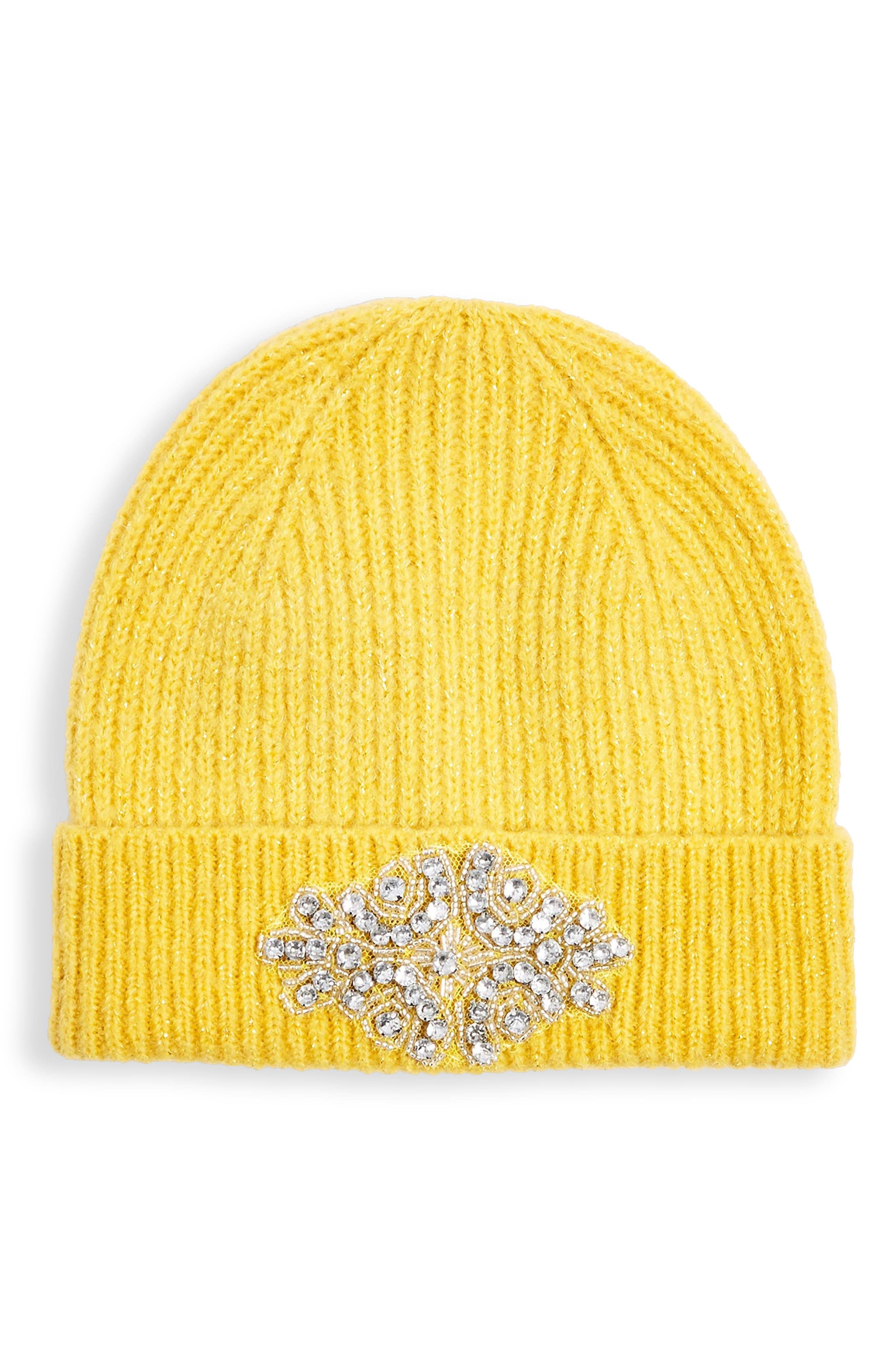 Metallic Embroidered Beanie,                         Main,                         color, MUSTARD