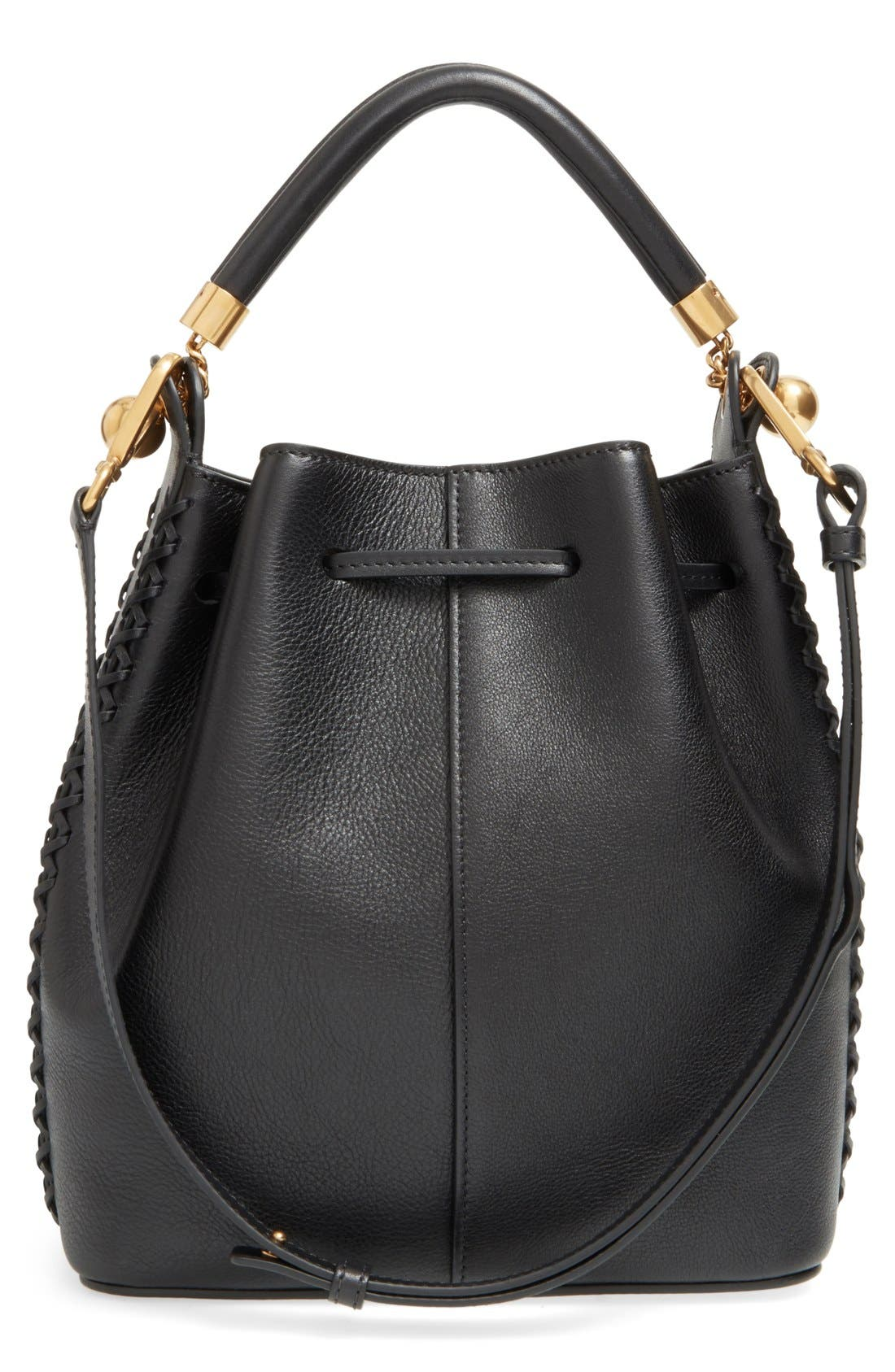 'Medium Gala' Calfskin Bucket Bag,                             Alternate thumbnail 5, color,                             001