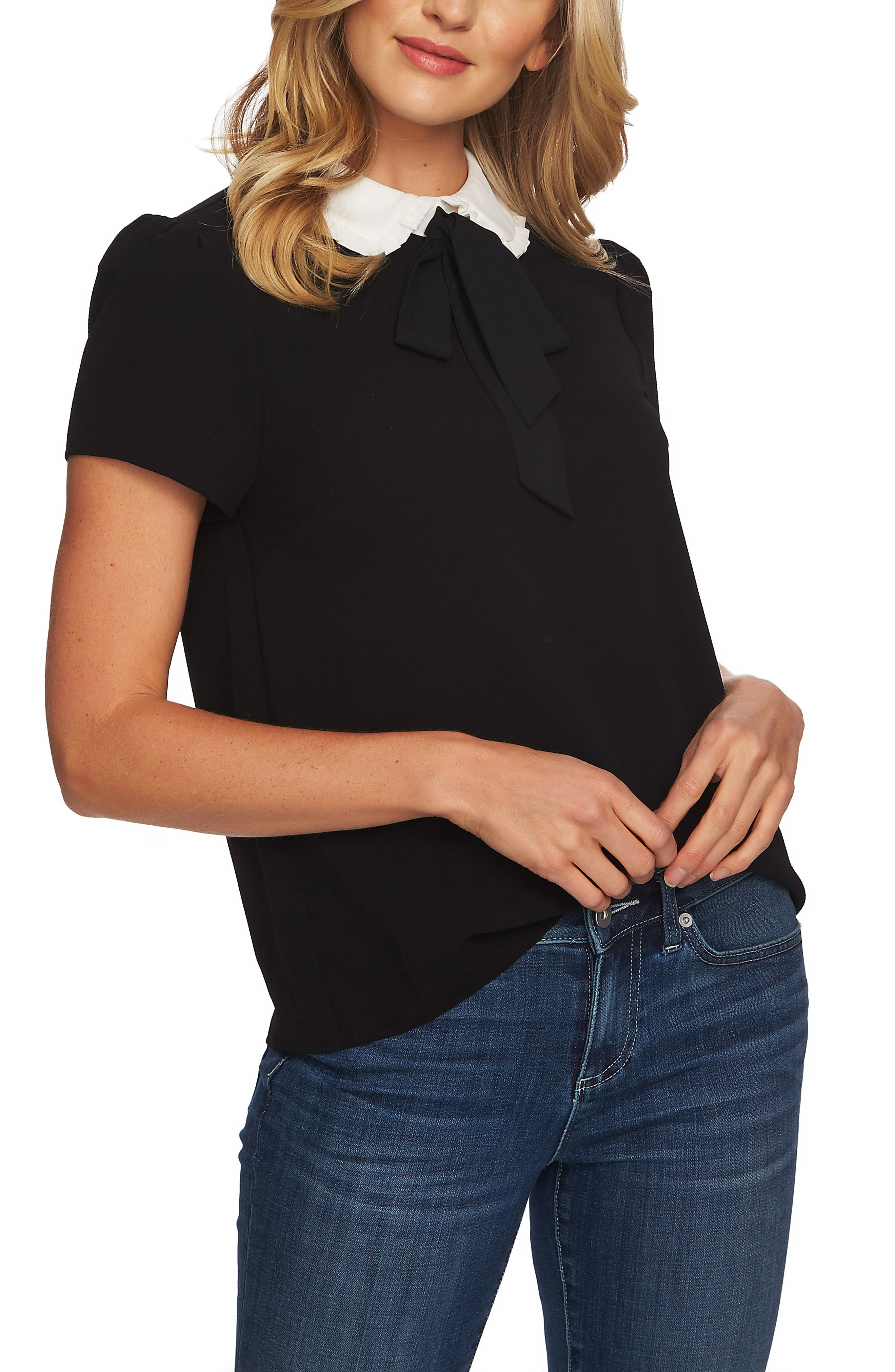 Ruffled Collar Tie Neck Top,                             Alternate thumbnail 3, color,                             RICH BLACK