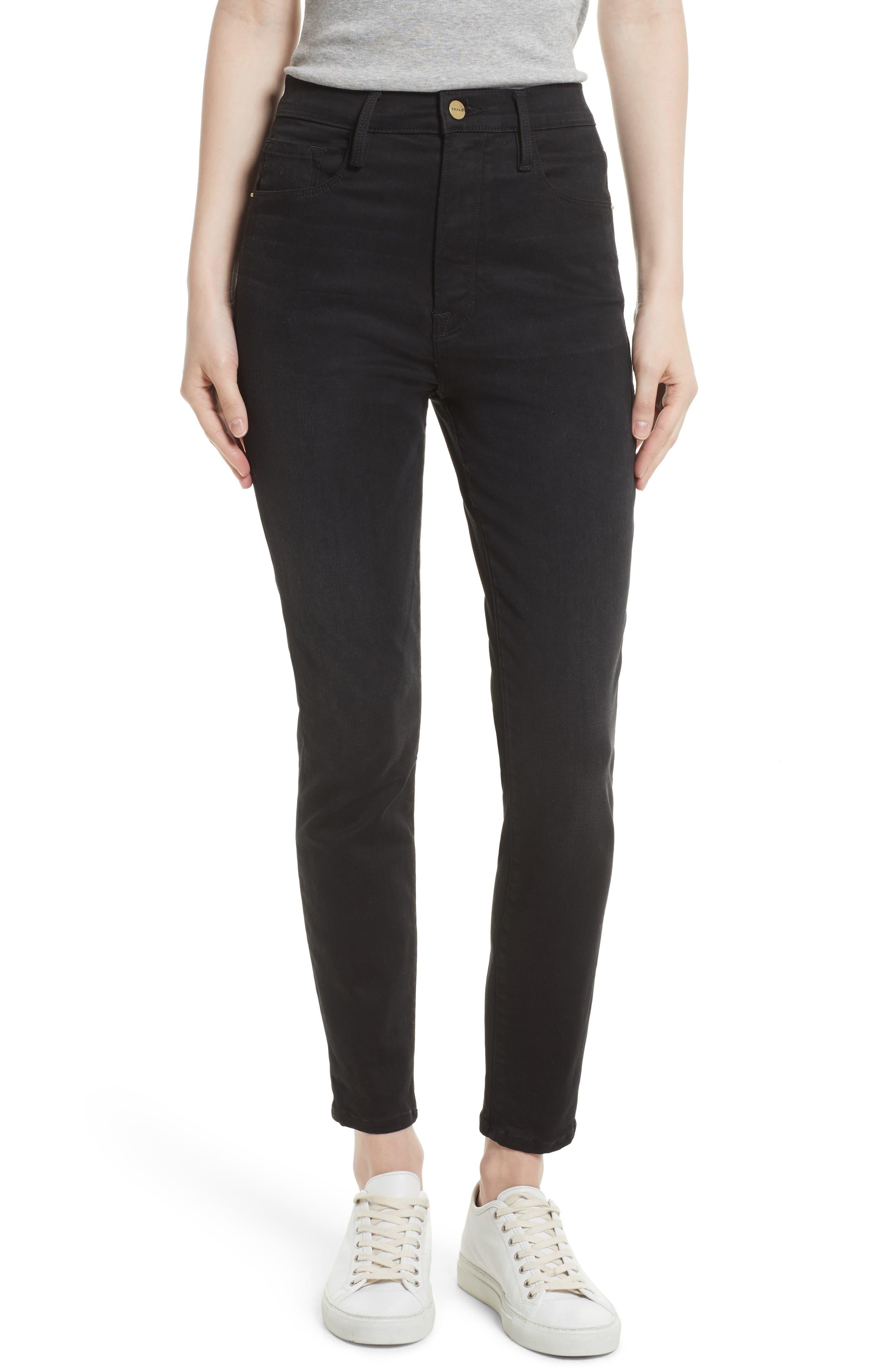 High Waist Skinny Jeans,                             Main thumbnail 1, color,                             NOIR