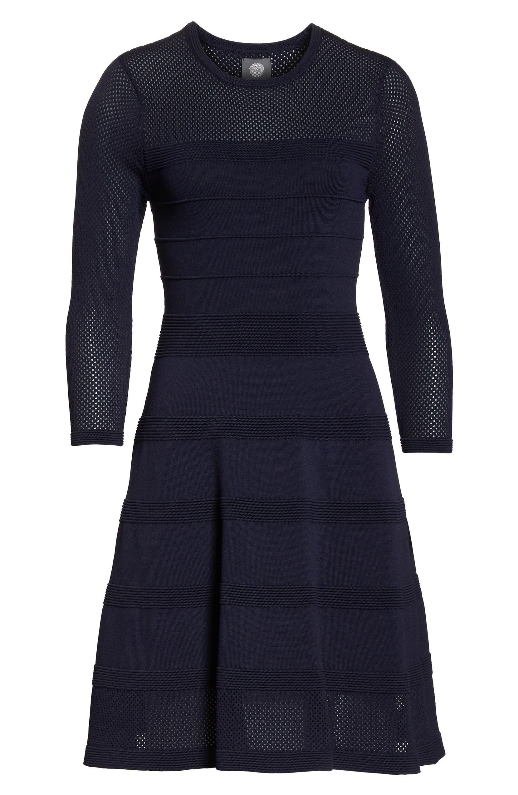Vince Camuto Mix Stitch Pointelle Fit   Flare Dress  15ebdb95a