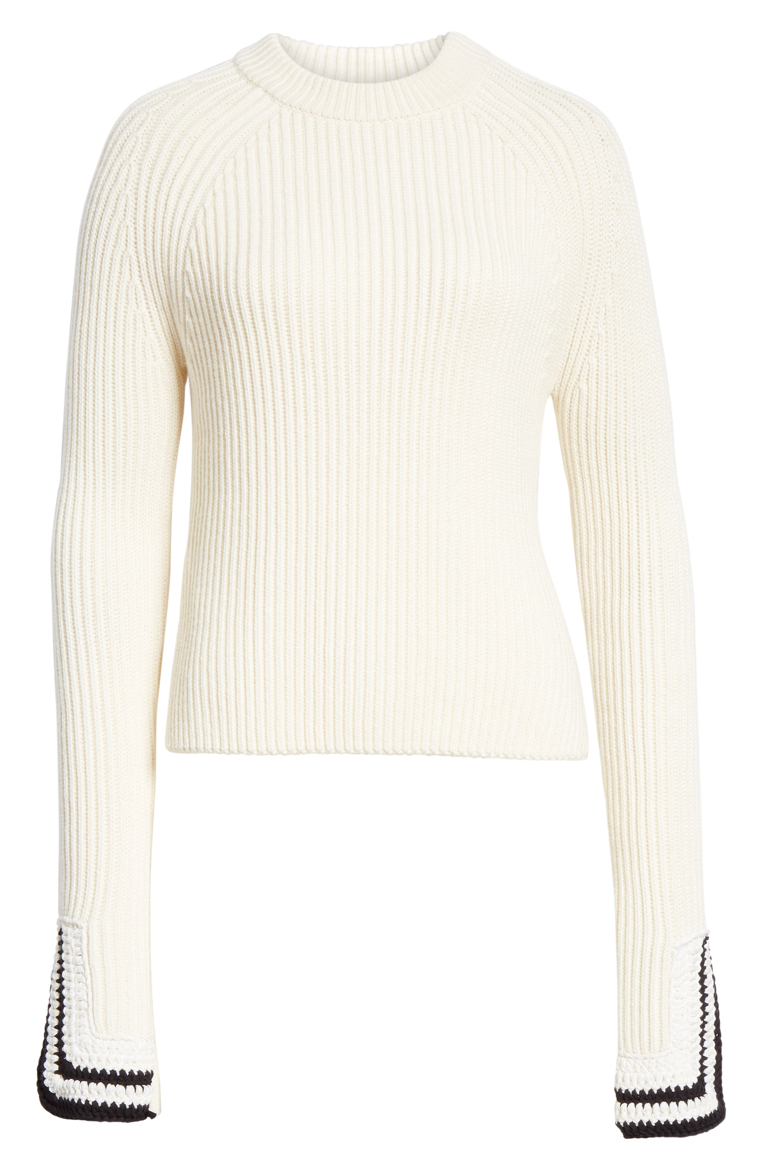 Crochet Cuff Wool & Cotton Sweater,                             Alternate thumbnail 6, color,                             BUTTER