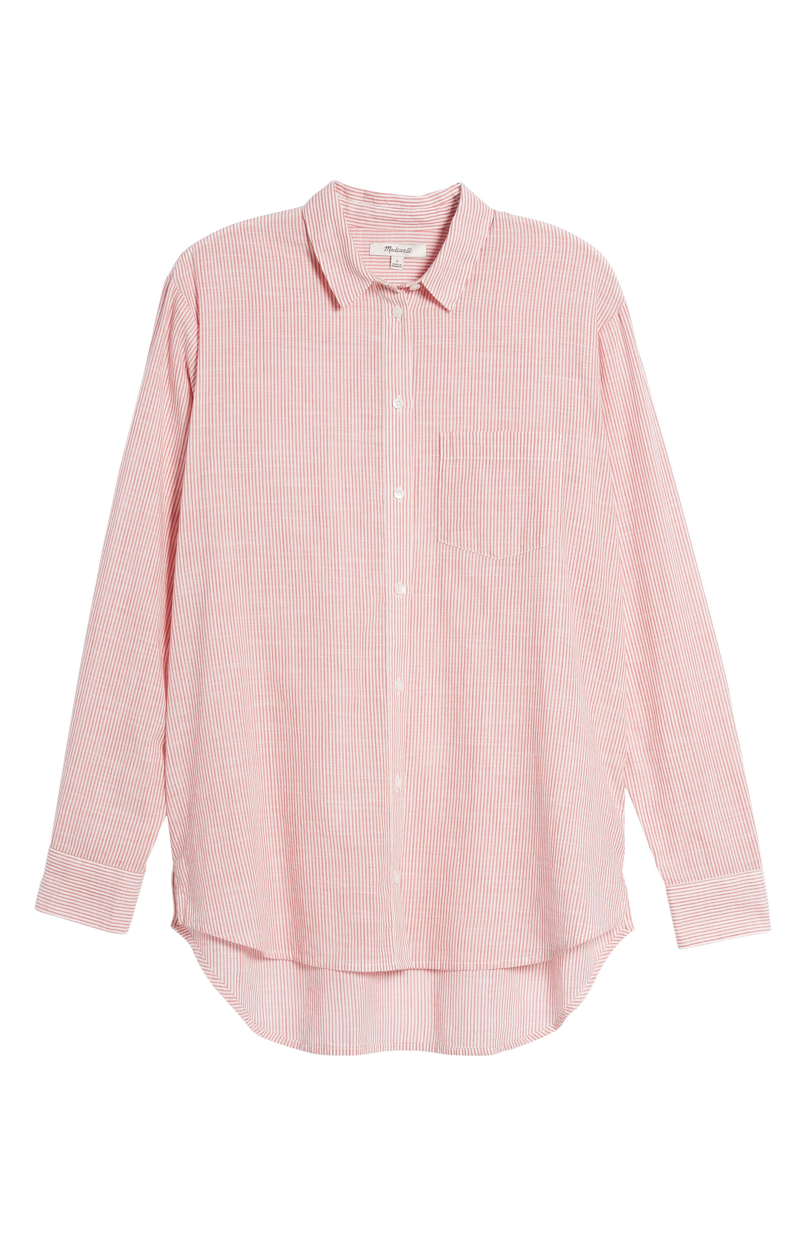 Stripe Oversize Ex-Boyfriend Shirt,                             Alternate thumbnail 6, color,                             600