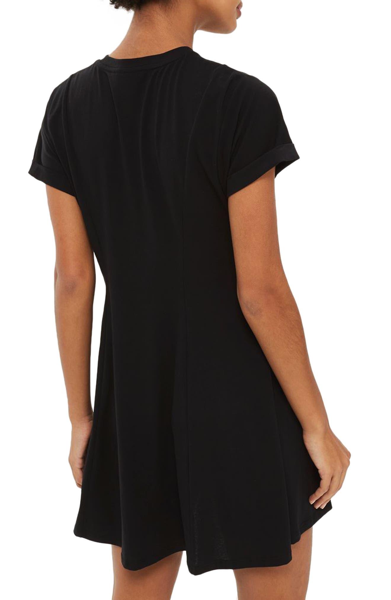 Corset Front Flippy Tunic Dress,                             Alternate thumbnail 4, color,