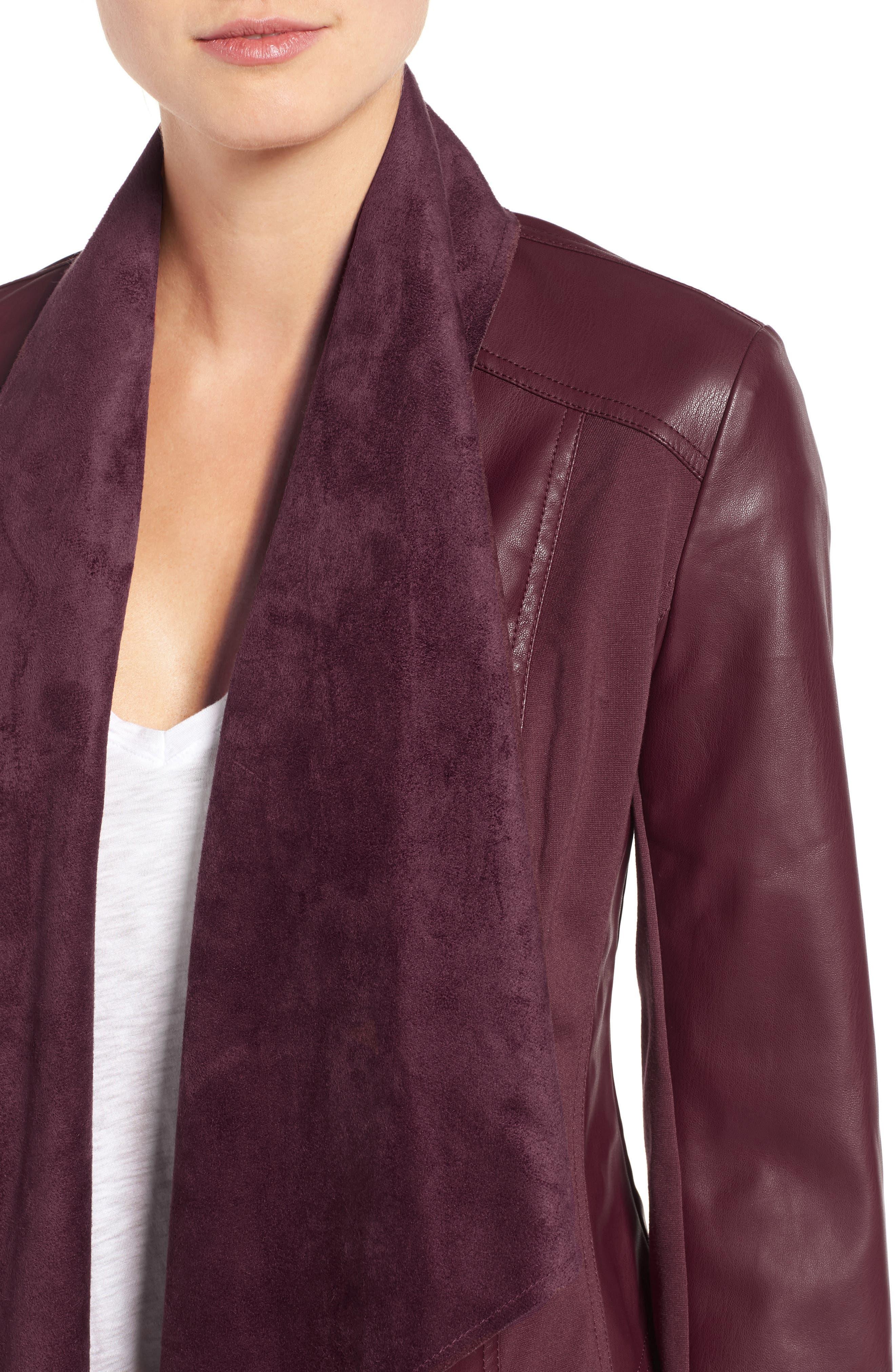 'Ana' Faux Leather Drape Front Jacket,                             Alternate thumbnail 8, color,
