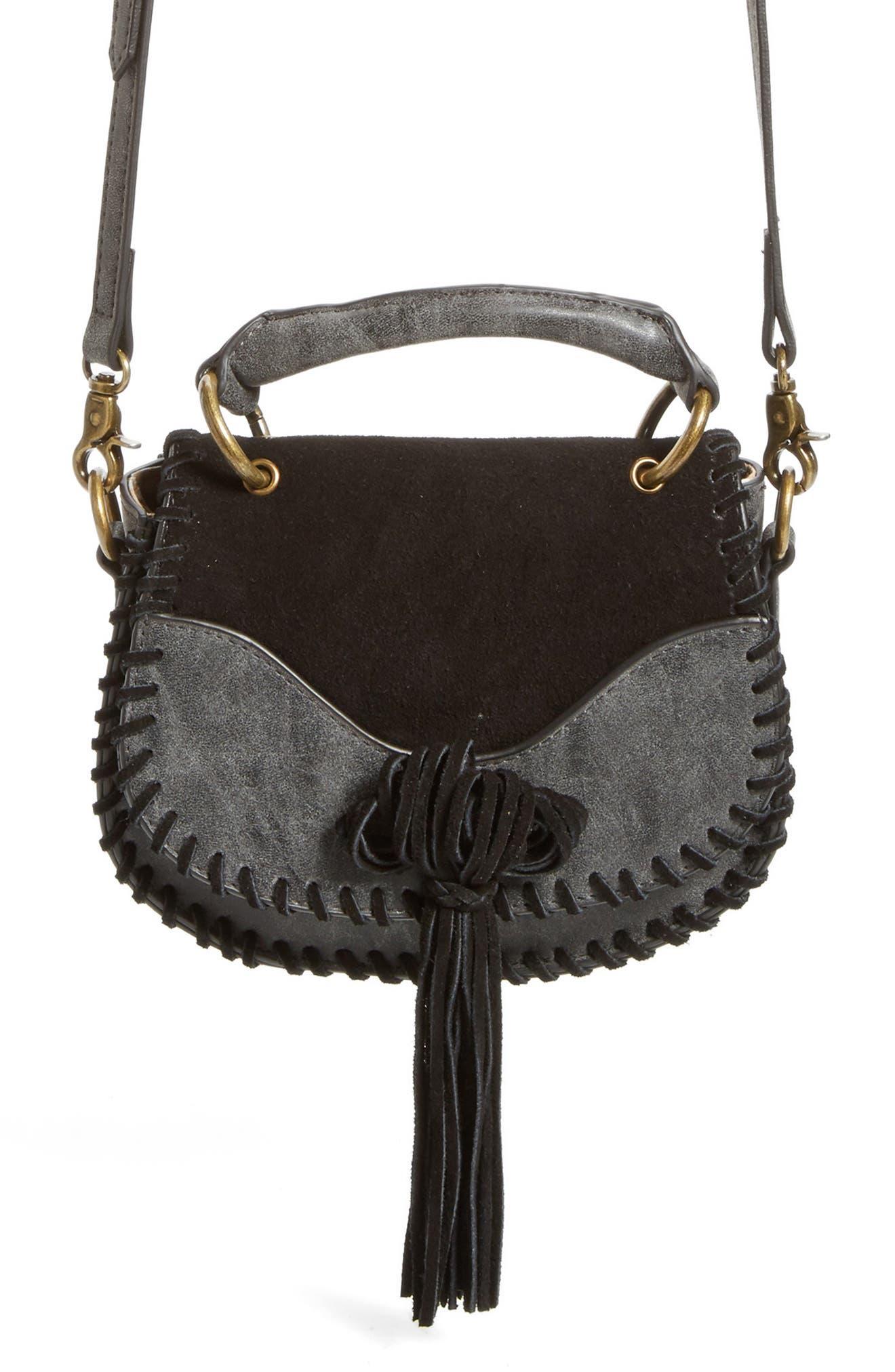 Mini Madrid Faux Leather Top Handle Saddle Bag,                             Alternate thumbnail 3, color,                             001