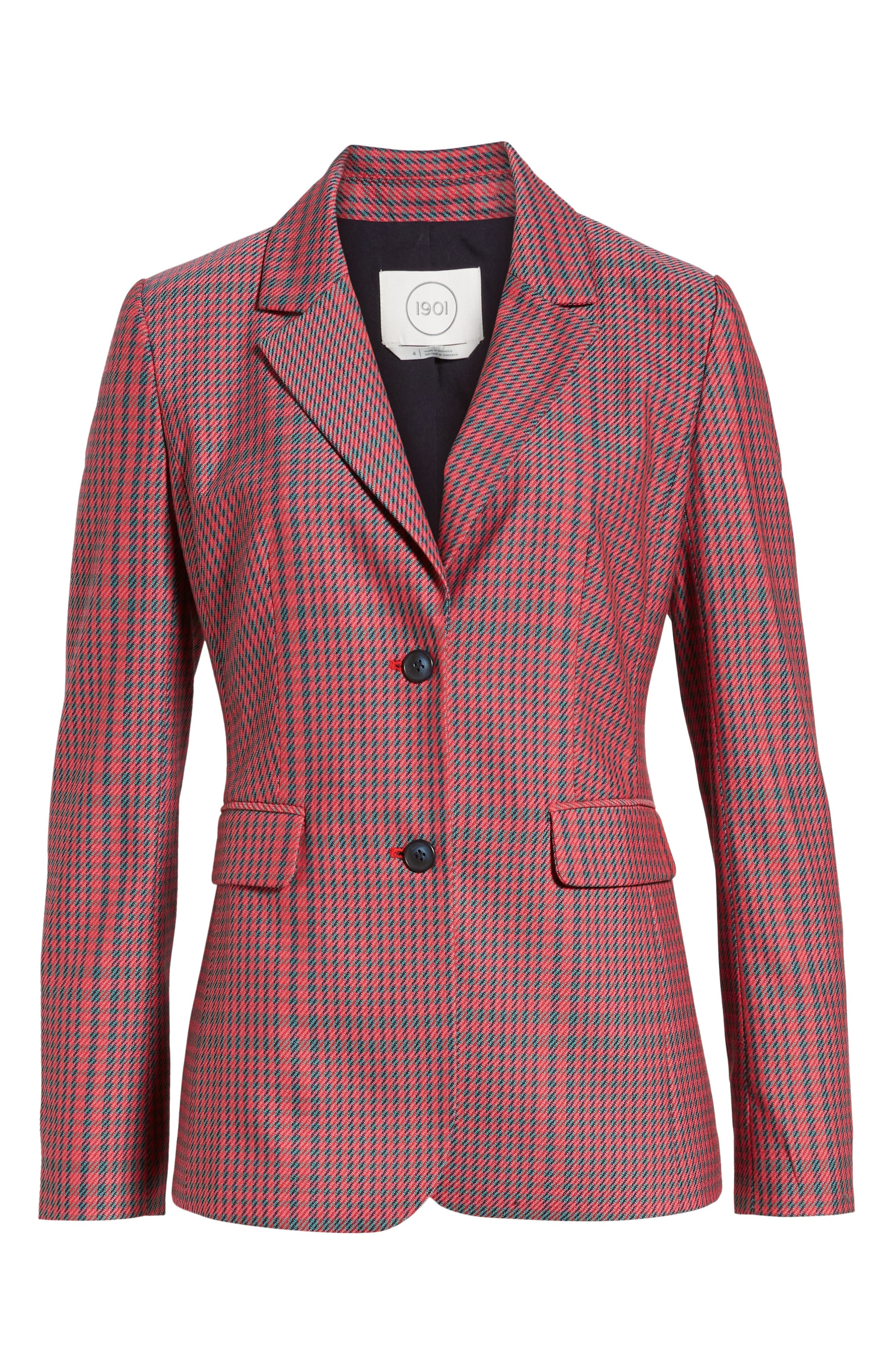 Plaid Blazer,                             Alternate thumbnail 6, color,                             PINK SIMONE PLAID